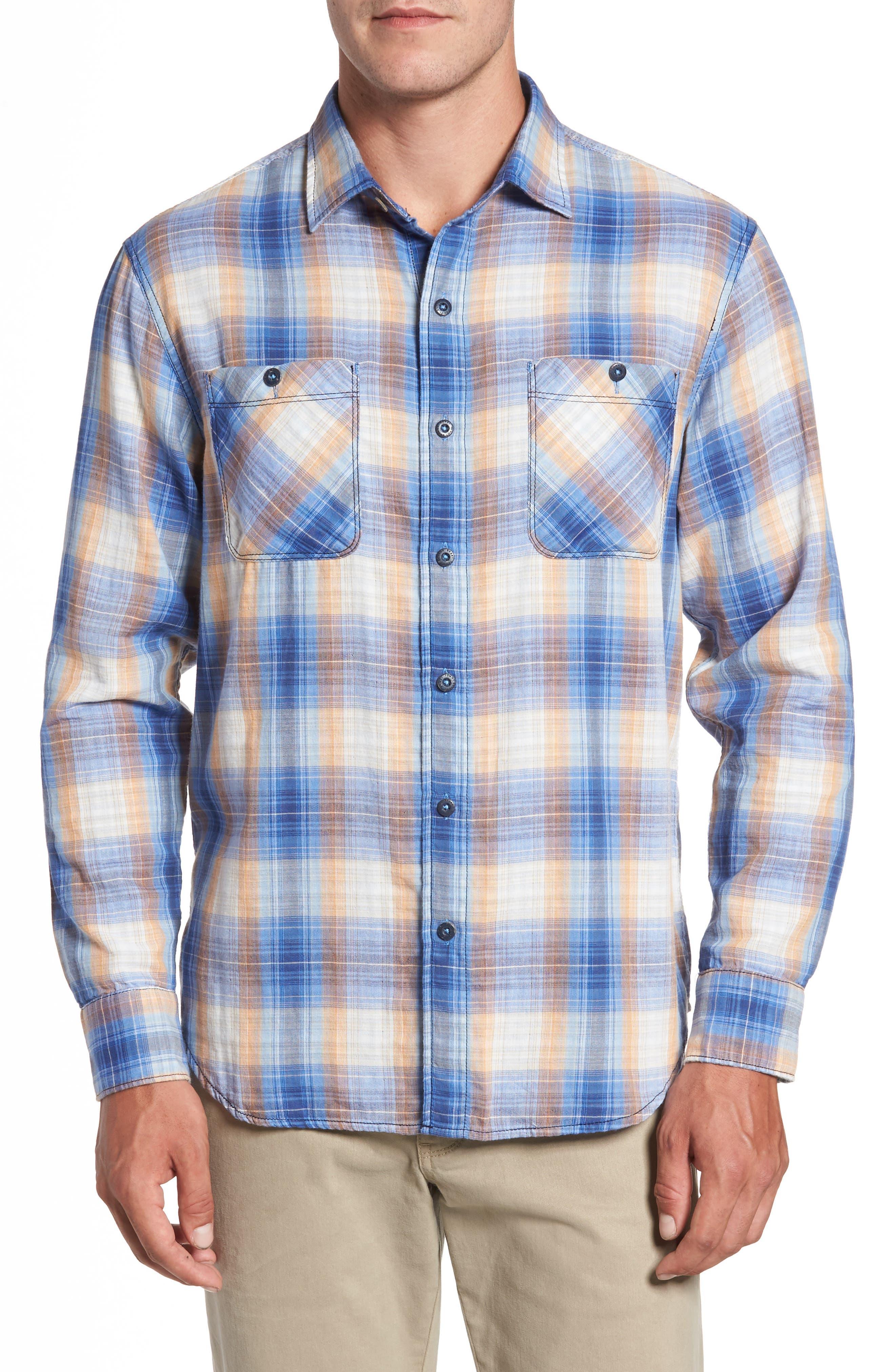 Duble' Ombré Standard Fit Plaid Sport Shirt,                         Main,                         color, Dark Cobalt