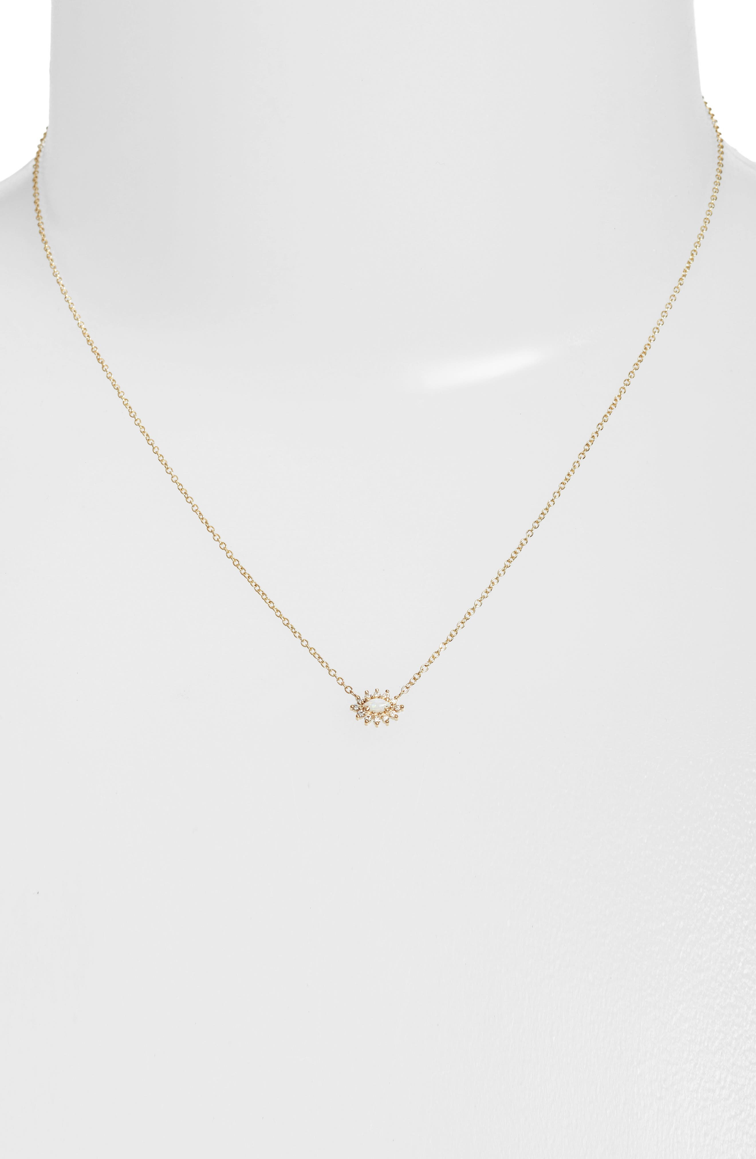 ZOË CHICCO Diamond & Opal Cluster Pendant Necklace