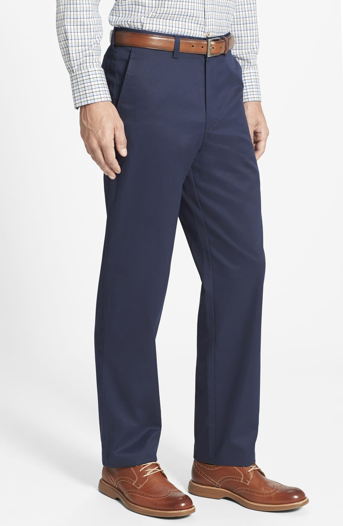 'Classic' Smartcare<sup>™</sup> Relaxed Fit Flat Front Cotton Pants,                             Alternate thumbnail 3, color,                             Navy