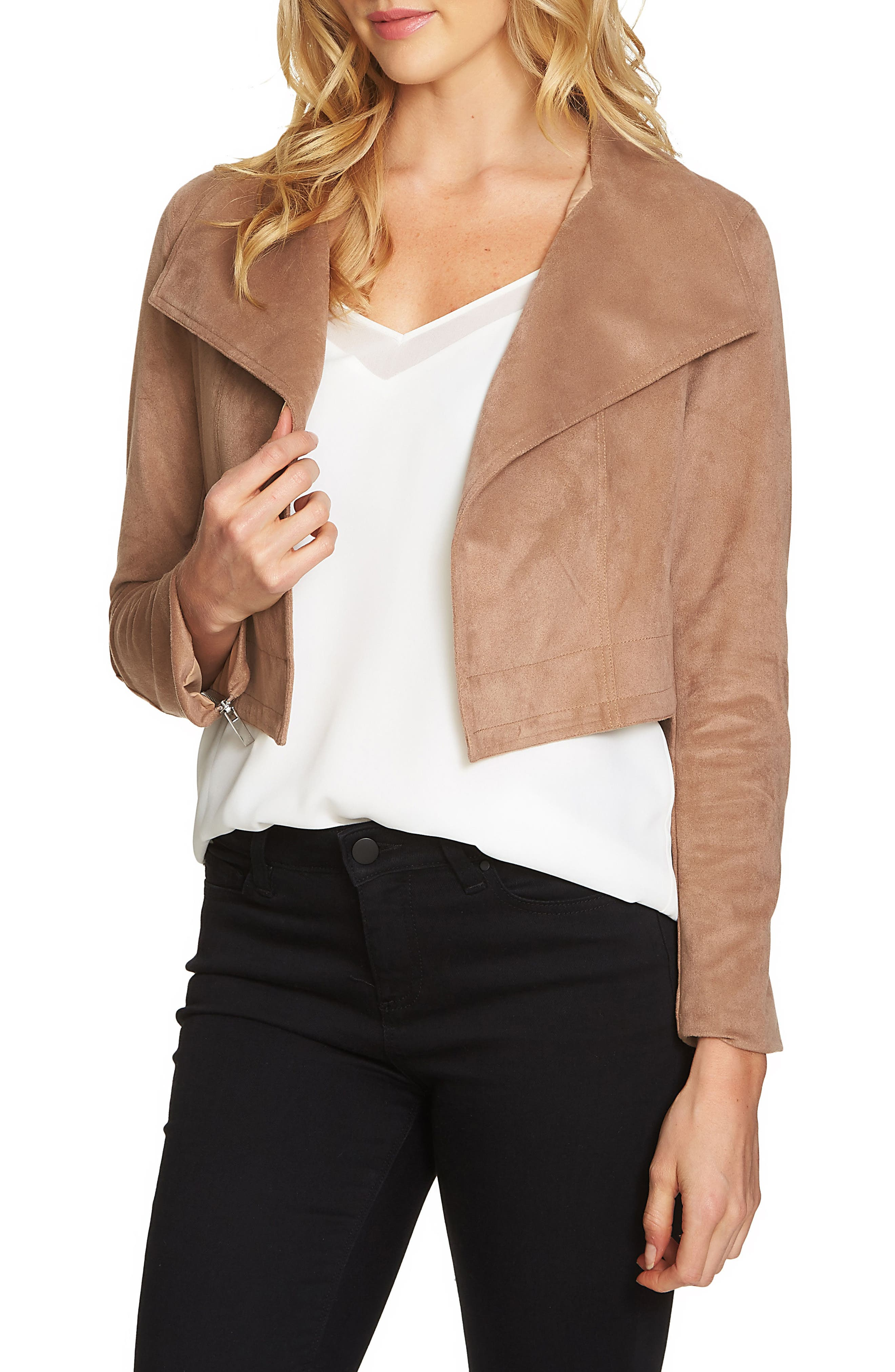 Alternate Image 1 Selected - 1.STATE Crop Faux Suede Jacket