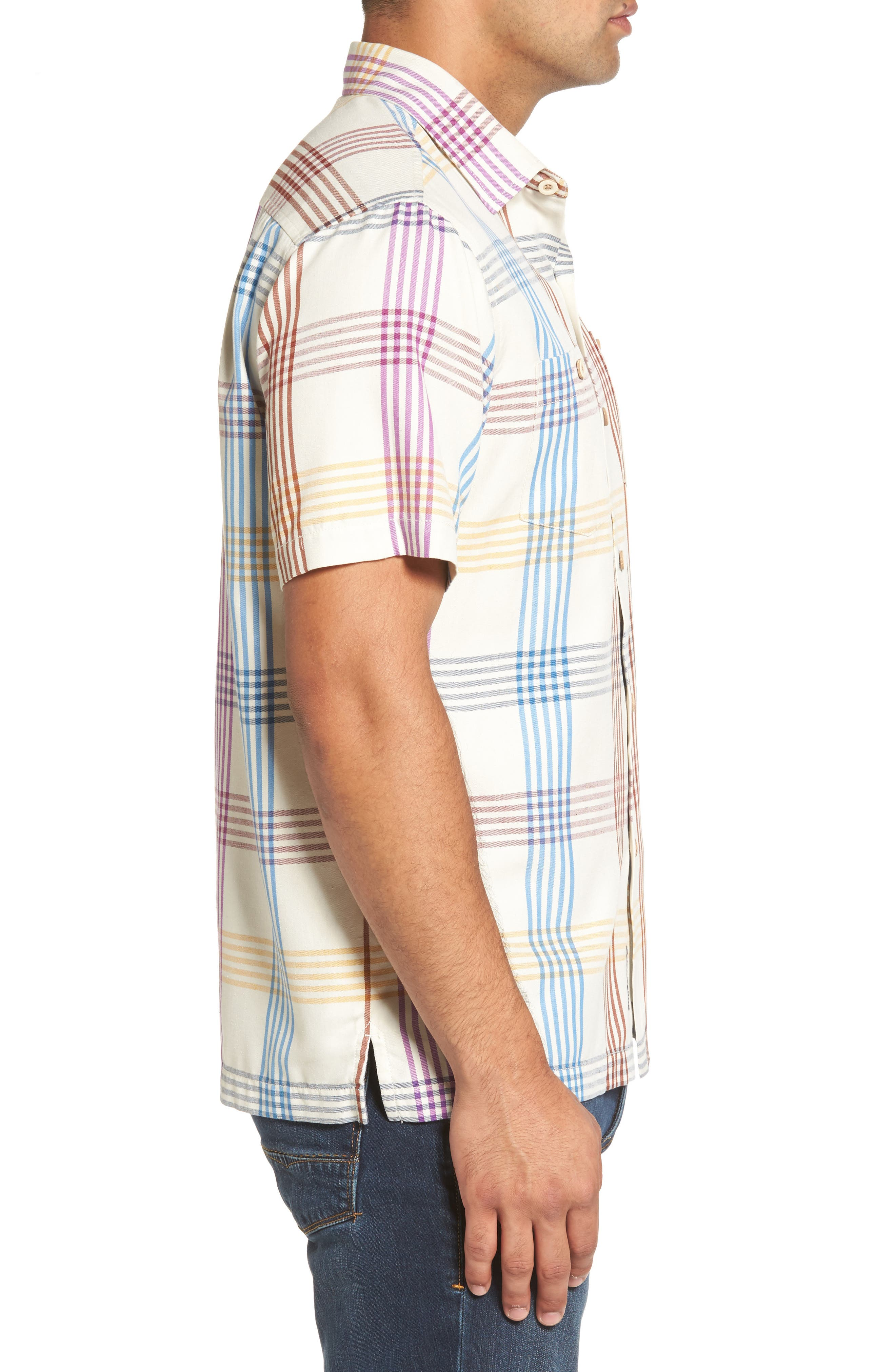 Mo' Rockin Standard Fit Silk Woven Shirt,                             Alternate thumbnail 3, color,                             Coconut Cream