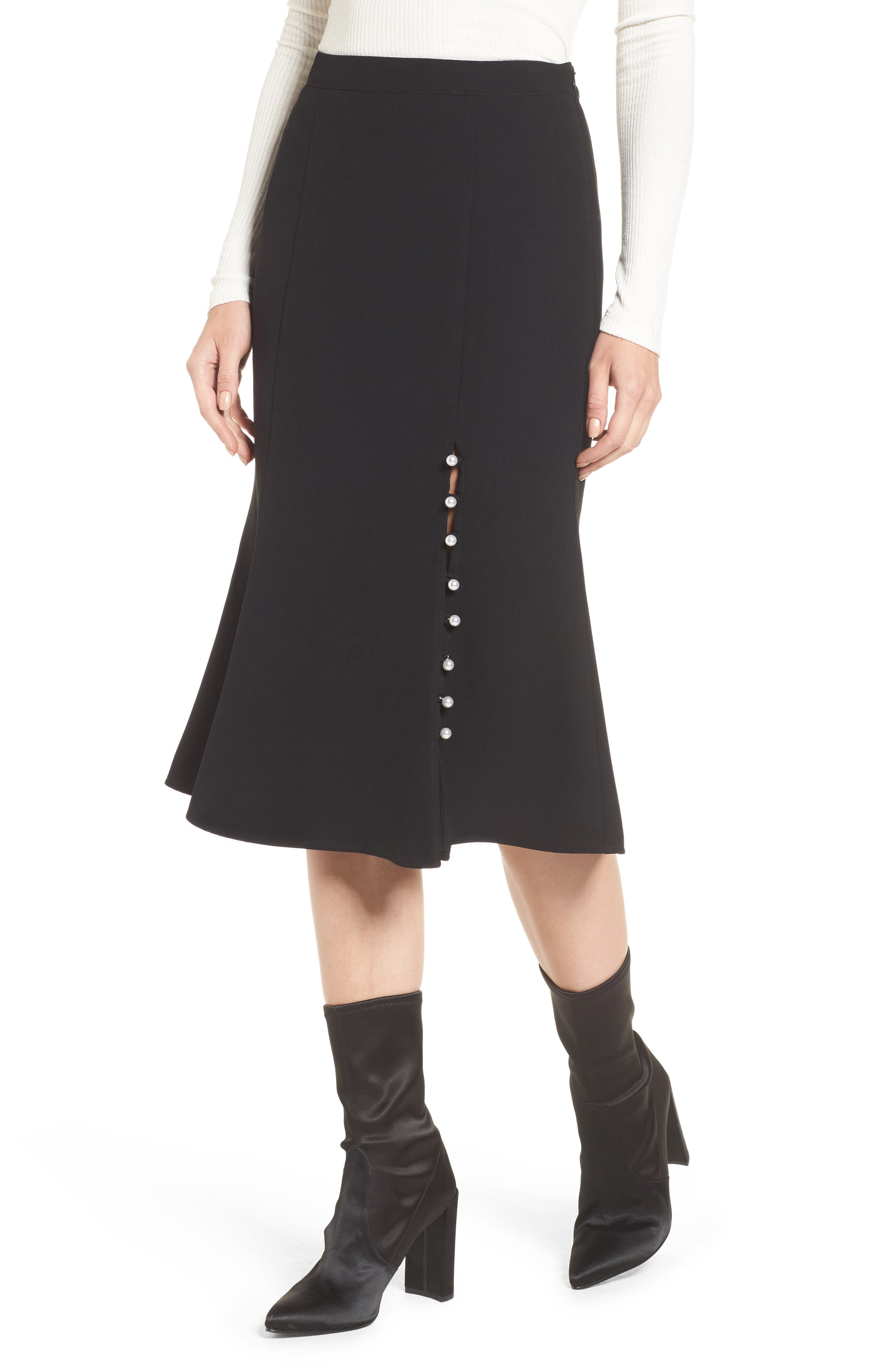Button Front Skirt,                             Main thumbnail 1, color,                             Black