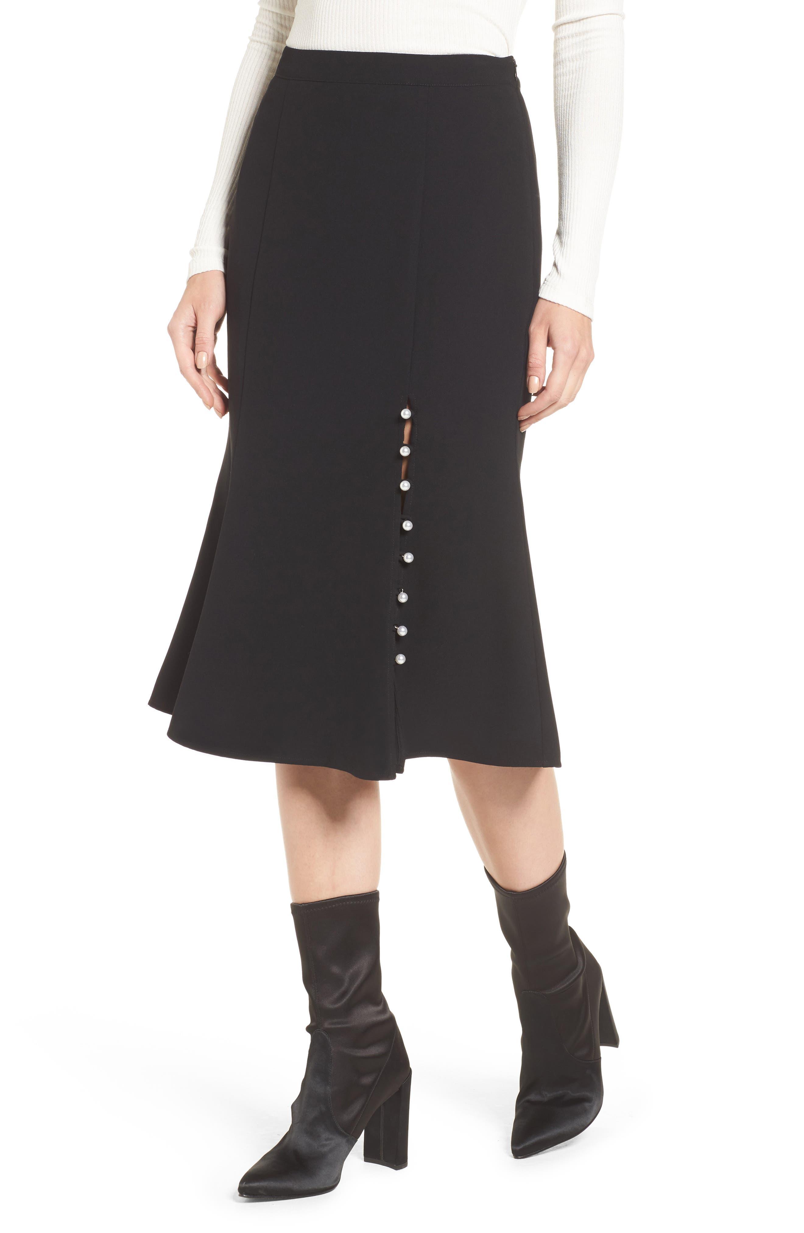 J.O.A. Button Front Skirt