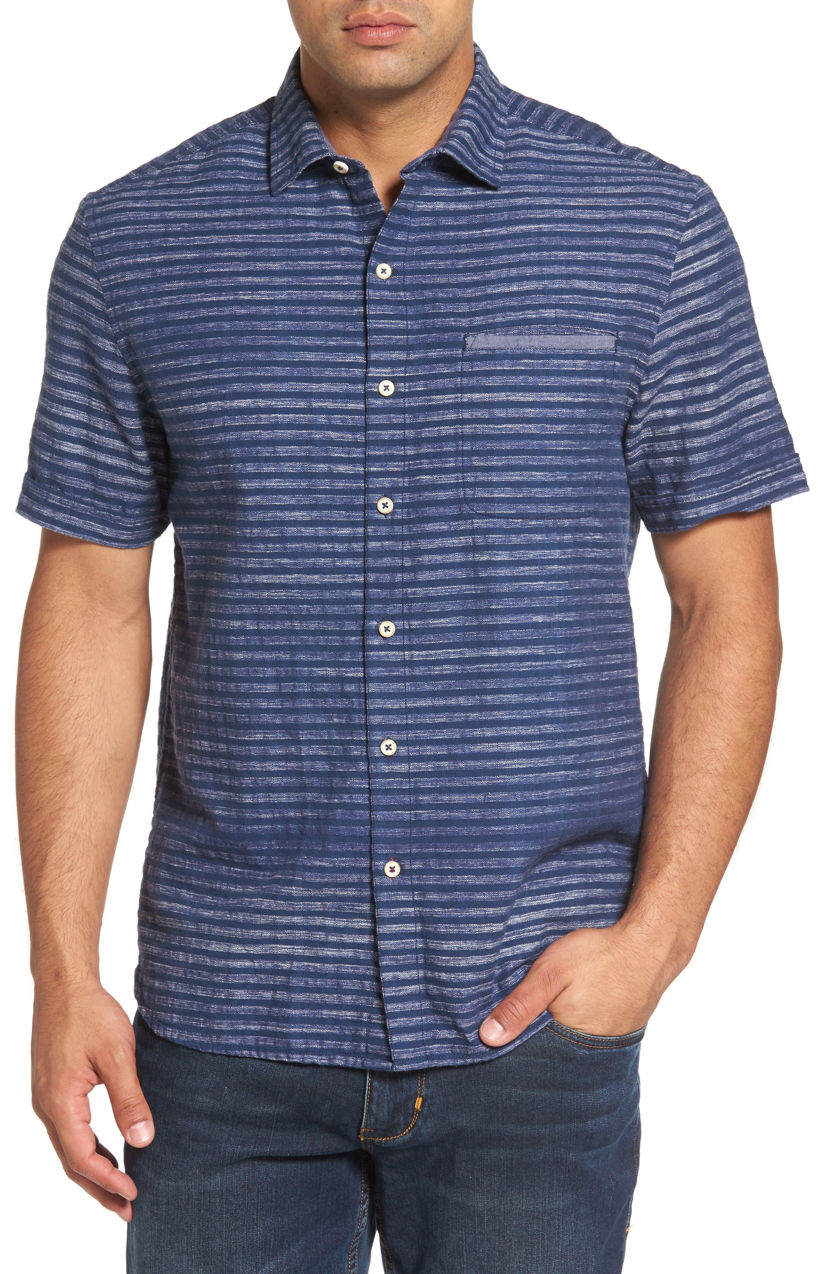 Seaway Stripe Standard Fit Sport Shirt,                         Main,                         color, Ocean Deep