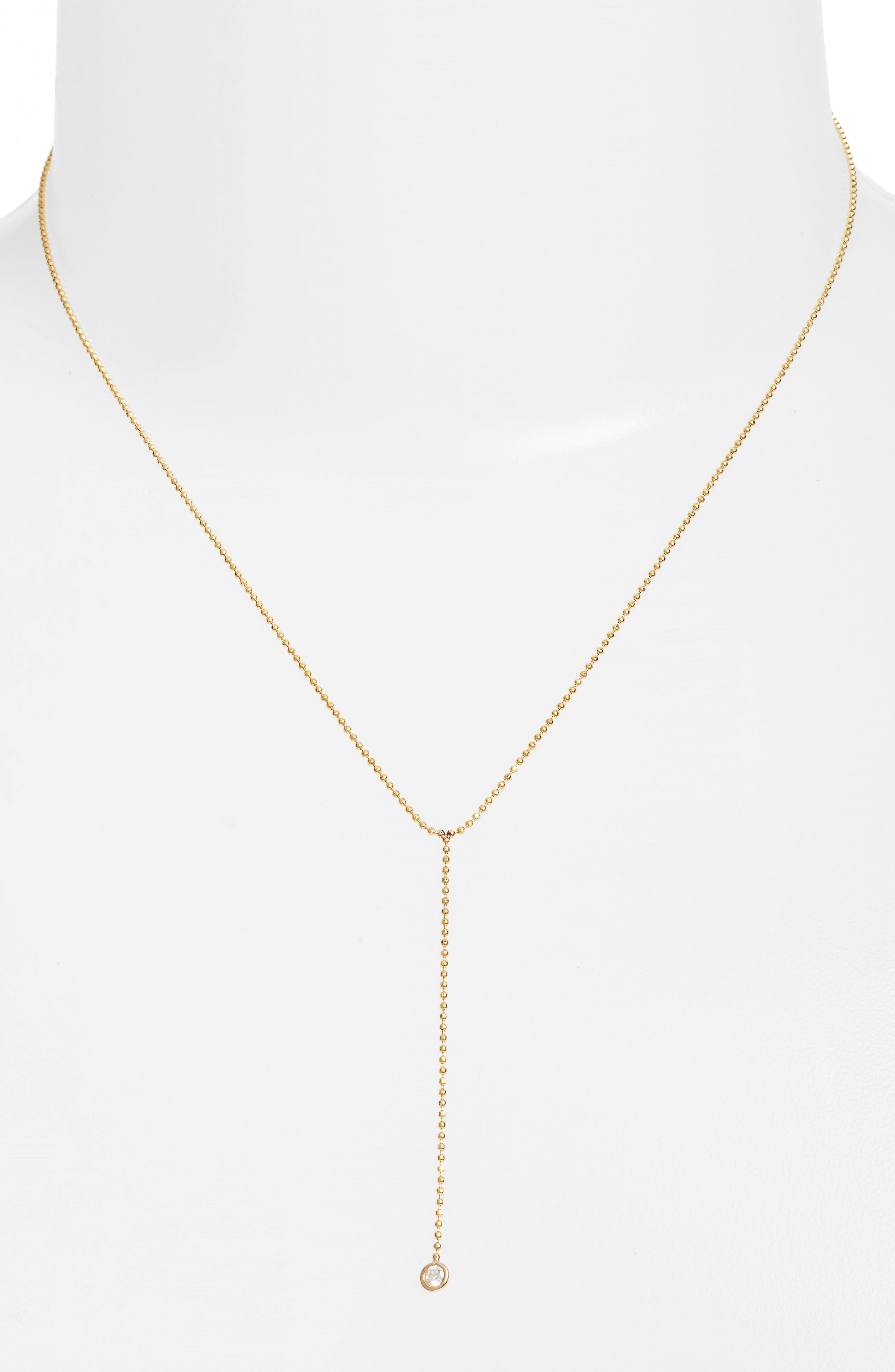 Diamond Y-Necklace,                         Main,                         color, Yellow Gold