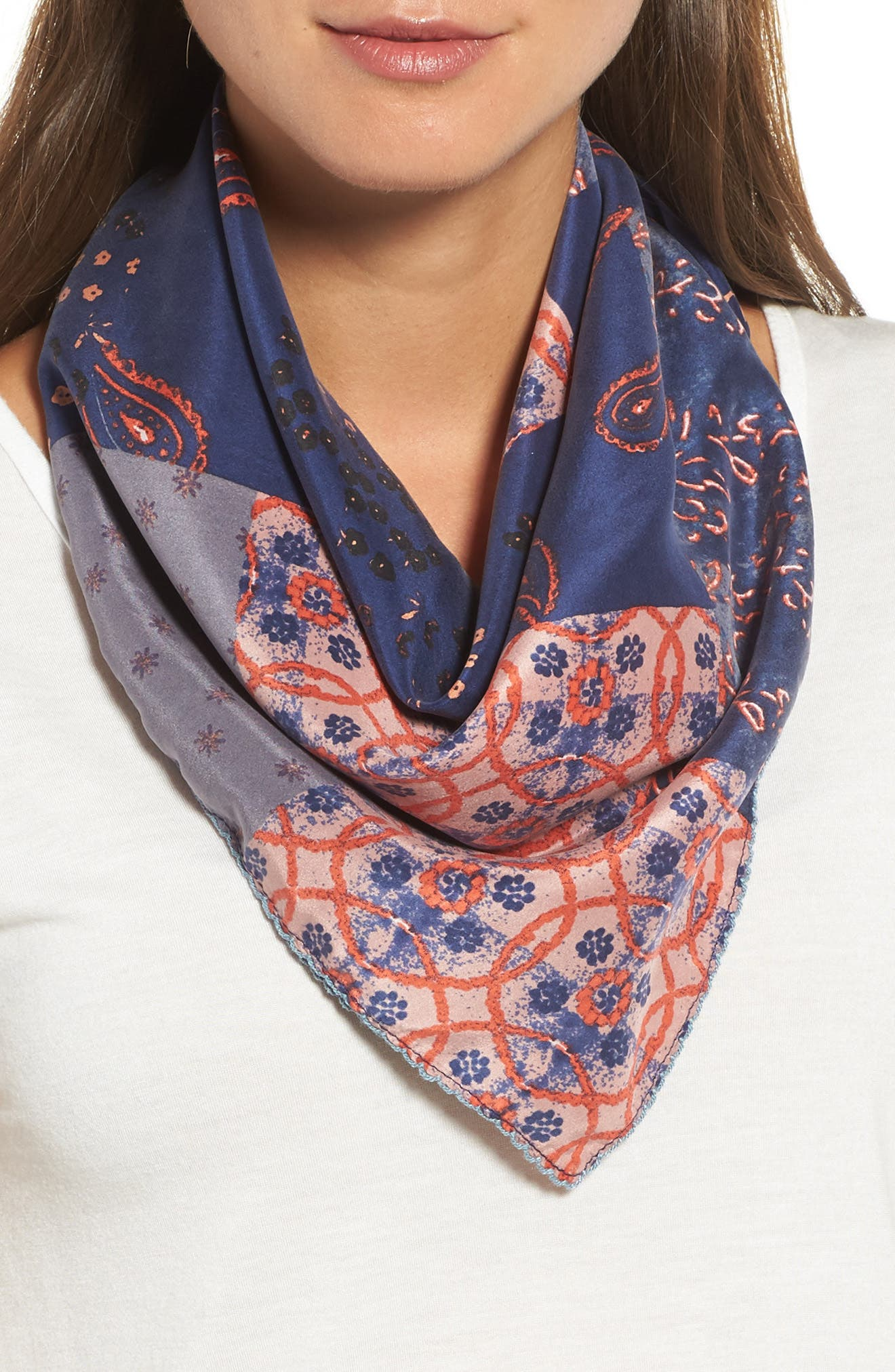 Paisley Meadow Square Silk Scarf,                             Main thumbnail 1, color,                             Blue Combo