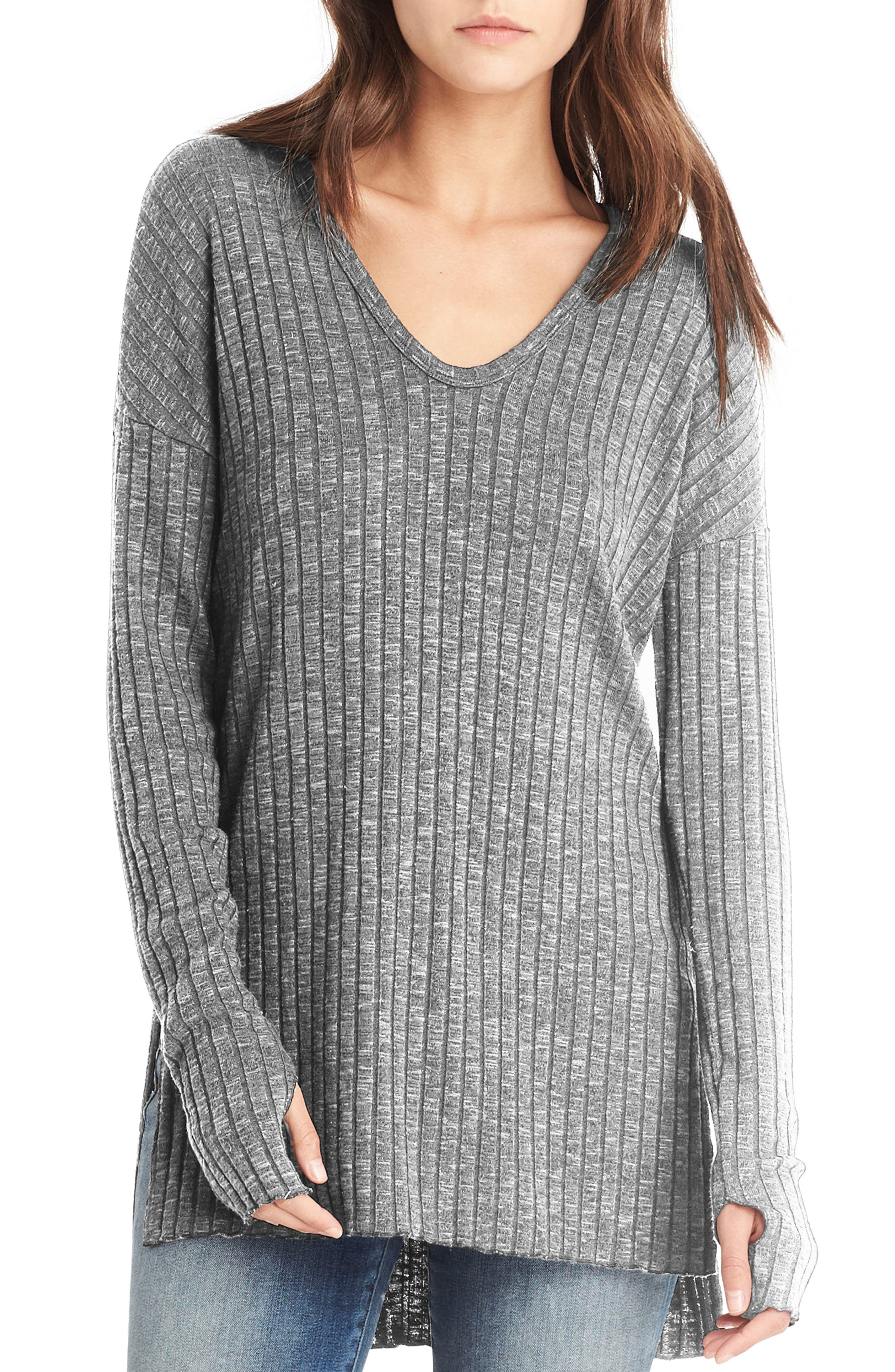 Side Slit Ribbed Tunic,                         Main,                         color, Heather Grey