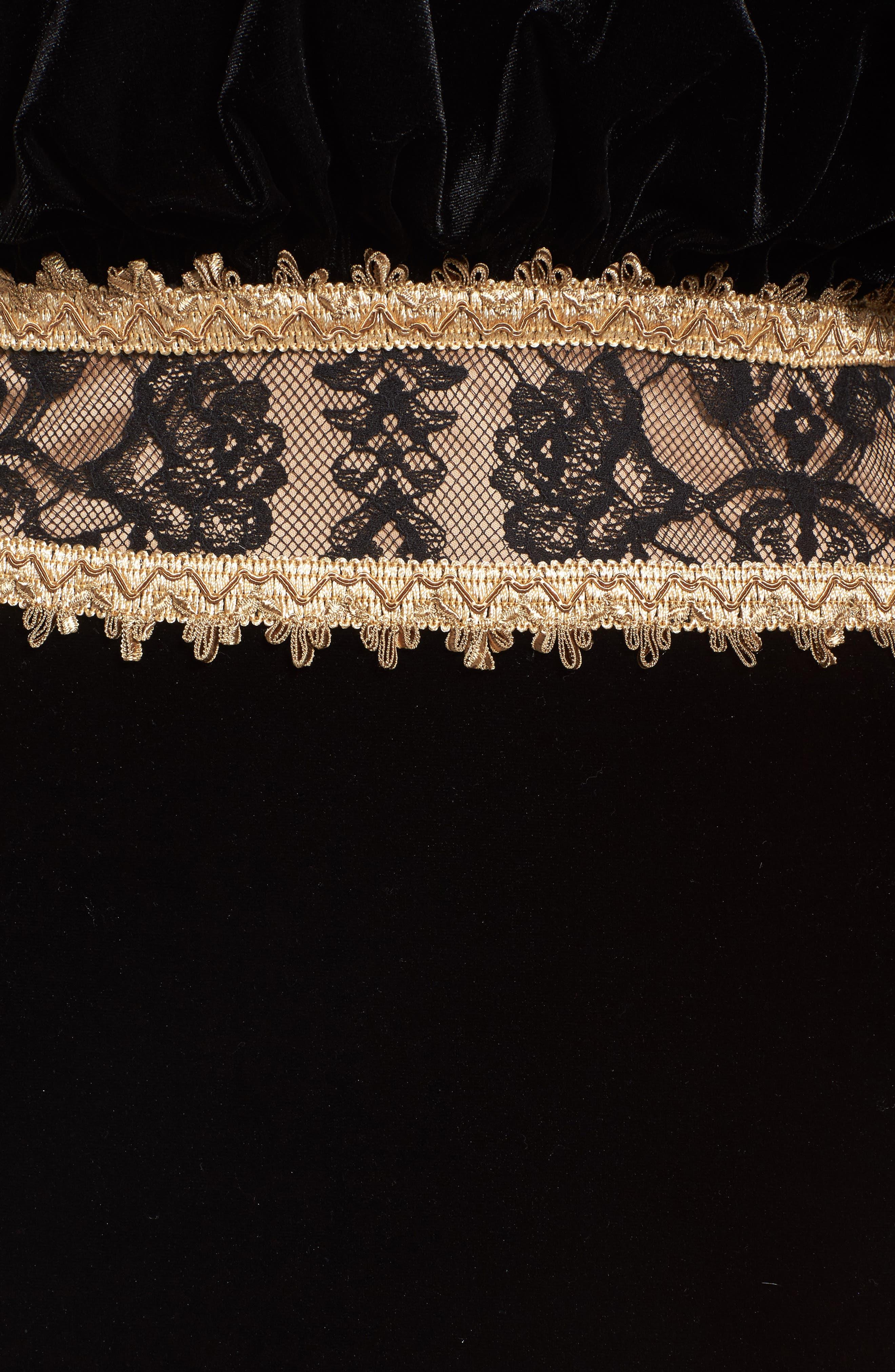 Alternate Image 5  - Tadashi Shoji Velvet Ruffle & Lace Off the Shoulder Gown