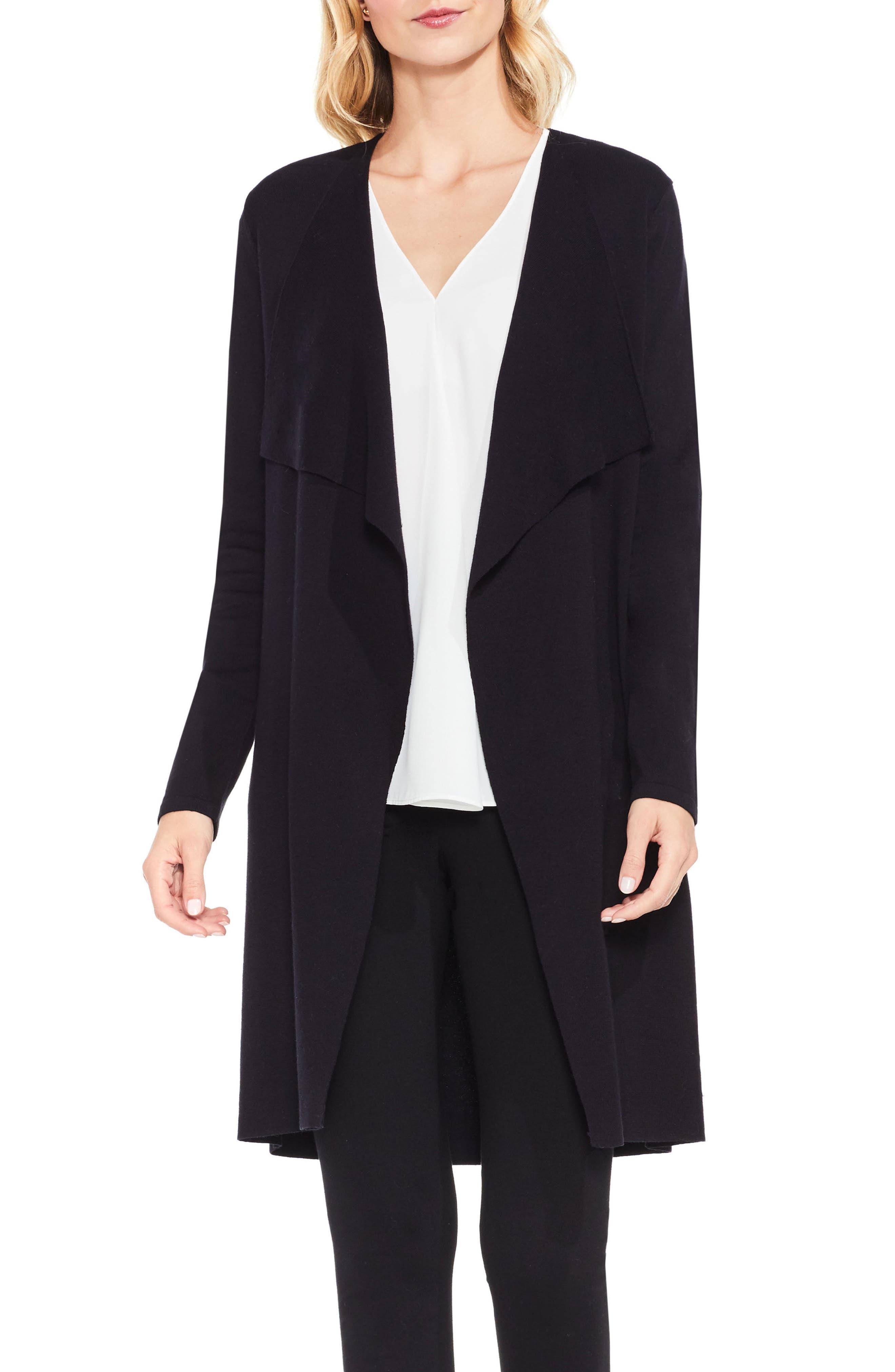 Drape Front Long Cardigan,                         Main,                         color, Rich Black