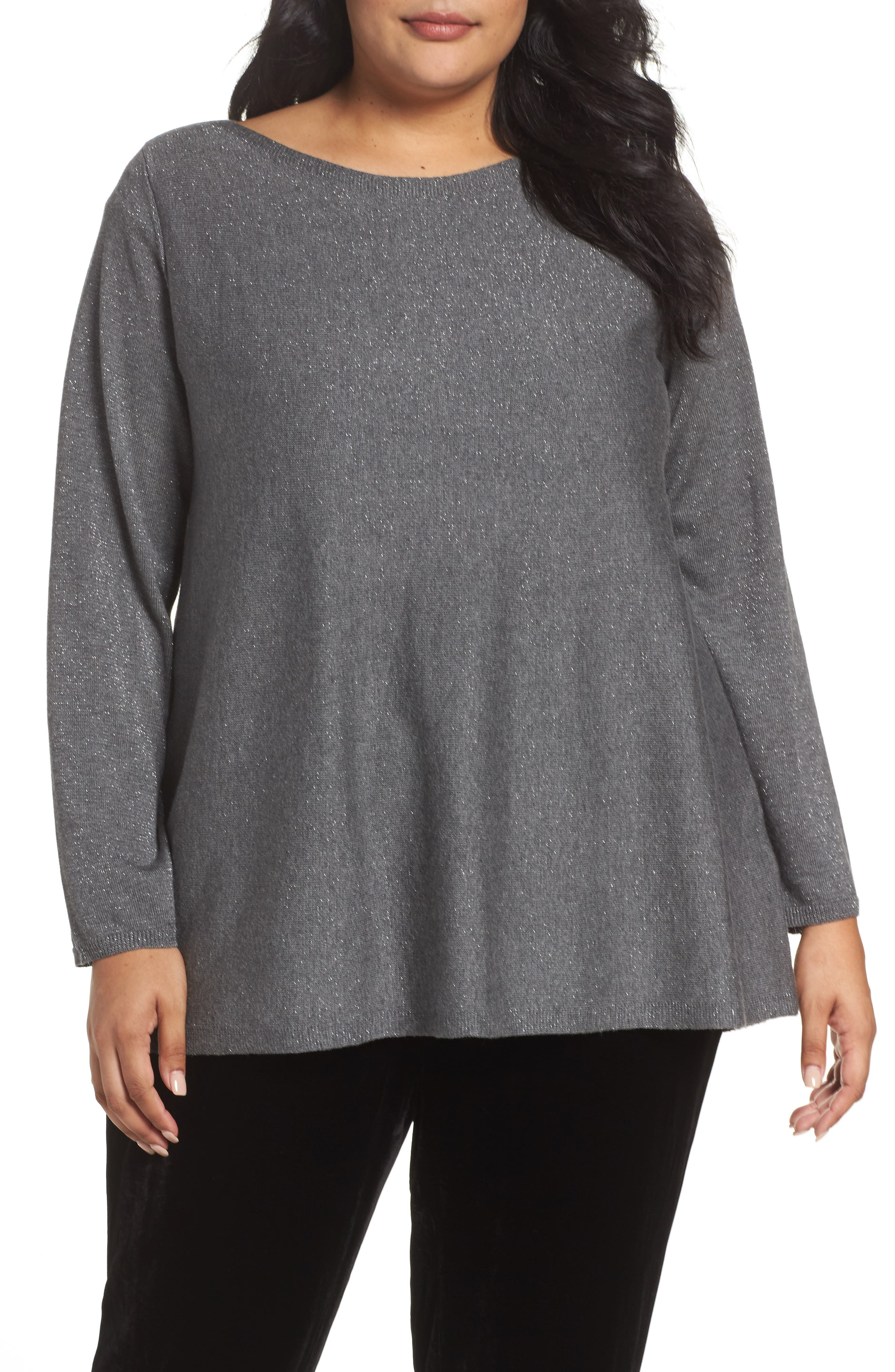 Eileen Fisher Shimmer Bateau Neck Sweater (Plus Size)