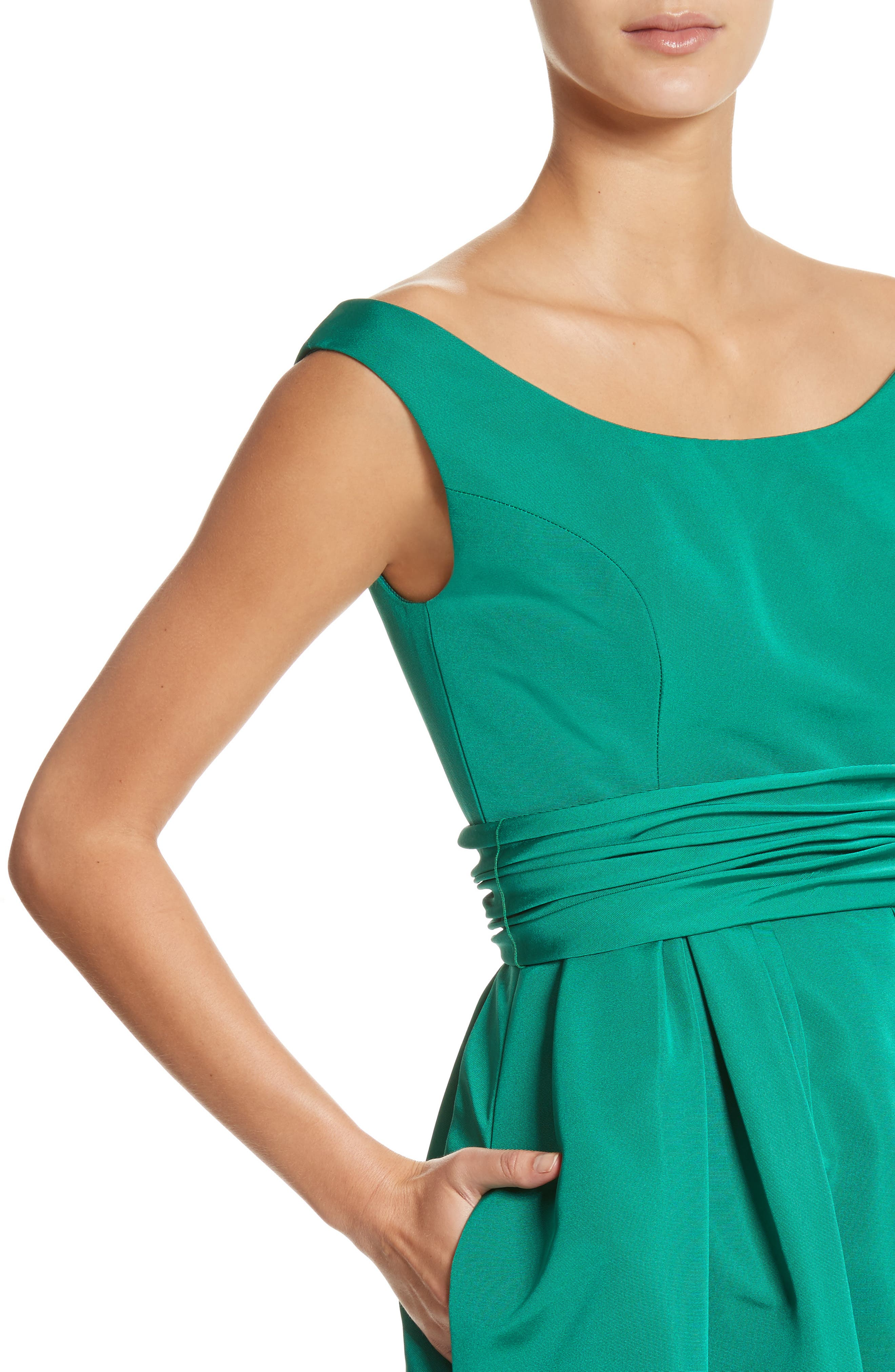 Off the Shoulder Silk Faille Gown,                             Alternate thumbnail 4, color,                             Green