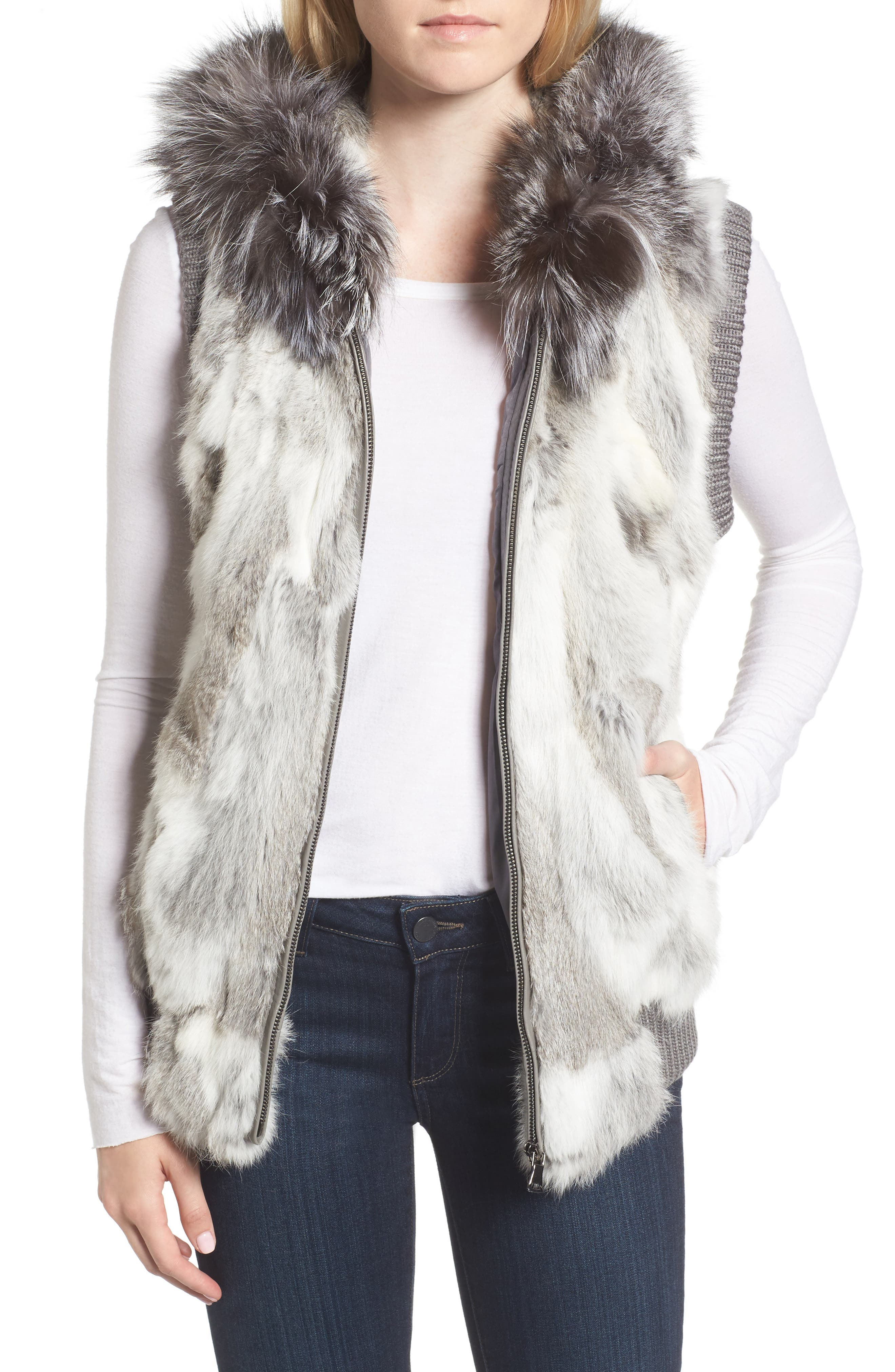 Jocelyn Genuine Rabbit Fur Hooded Vest with Genuine Fox Fur Trim