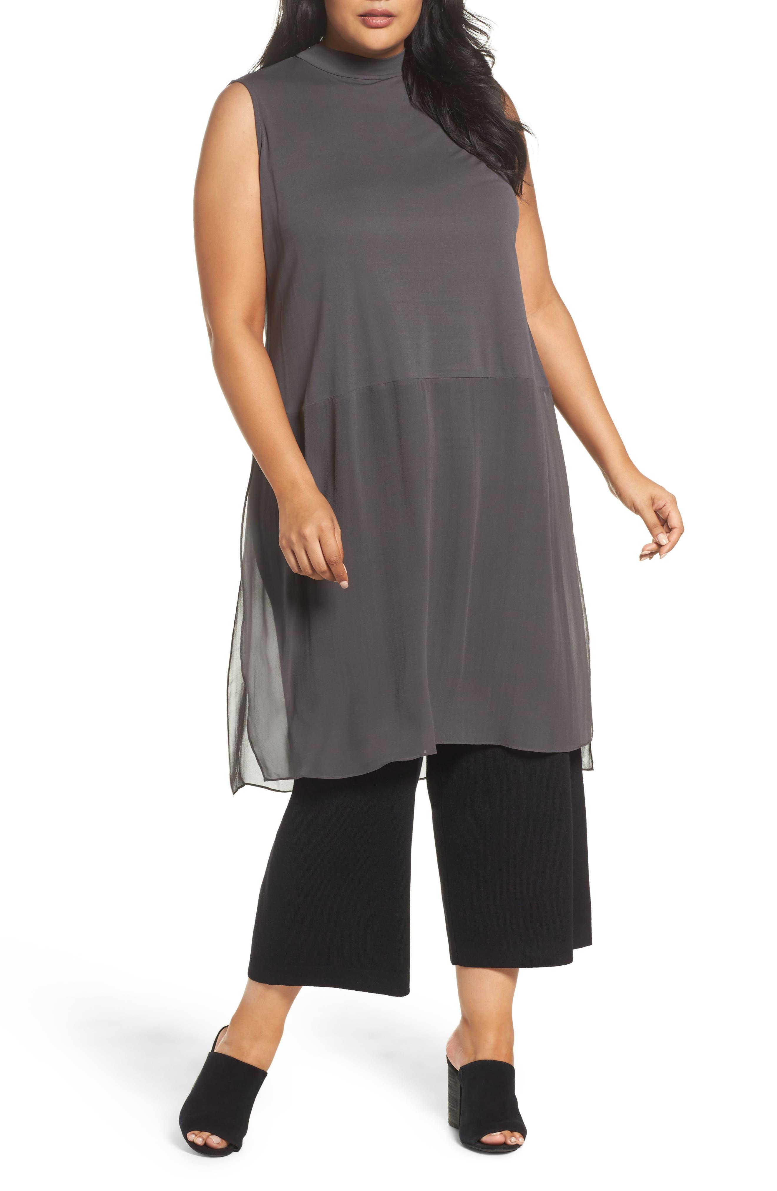 Eileen Fisher Silk Jersey & Chiffon Tunic (Plus Size)