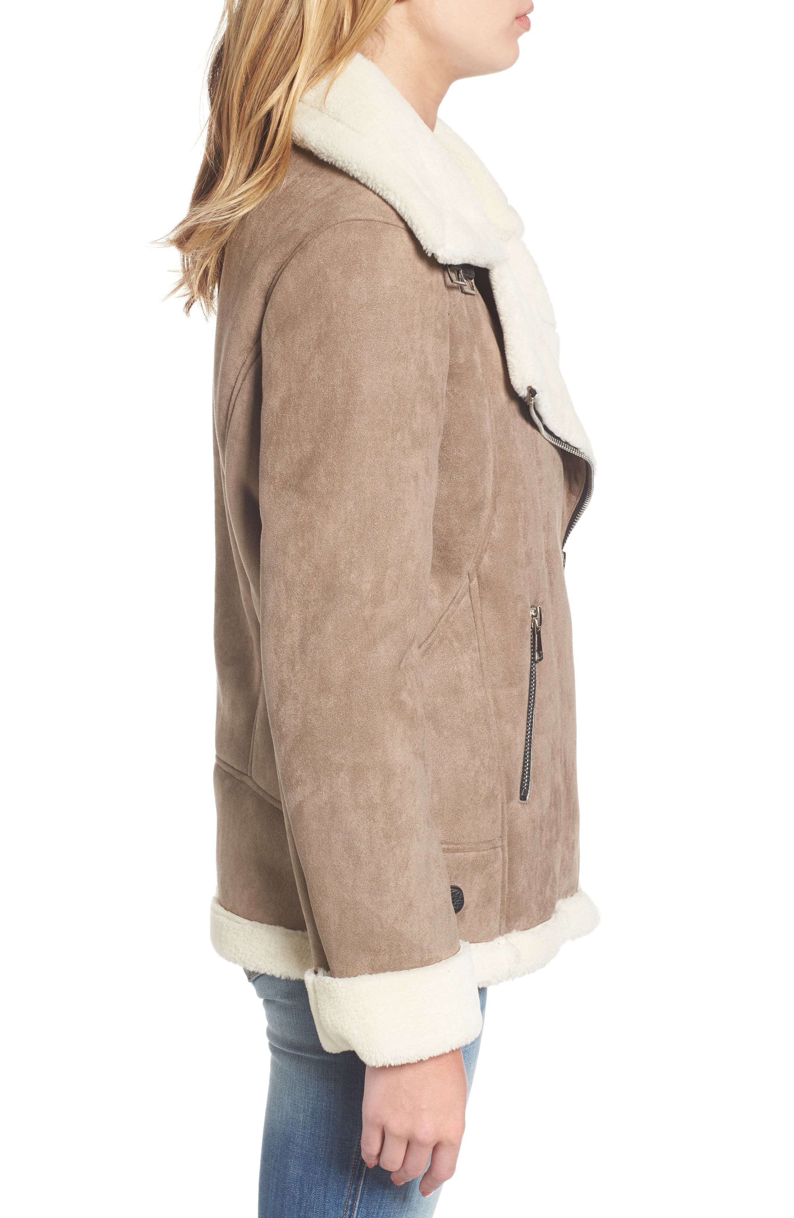 Faux Shearling Oversized Jacket,                             Alternate thumbnail 3, color,                             Beige