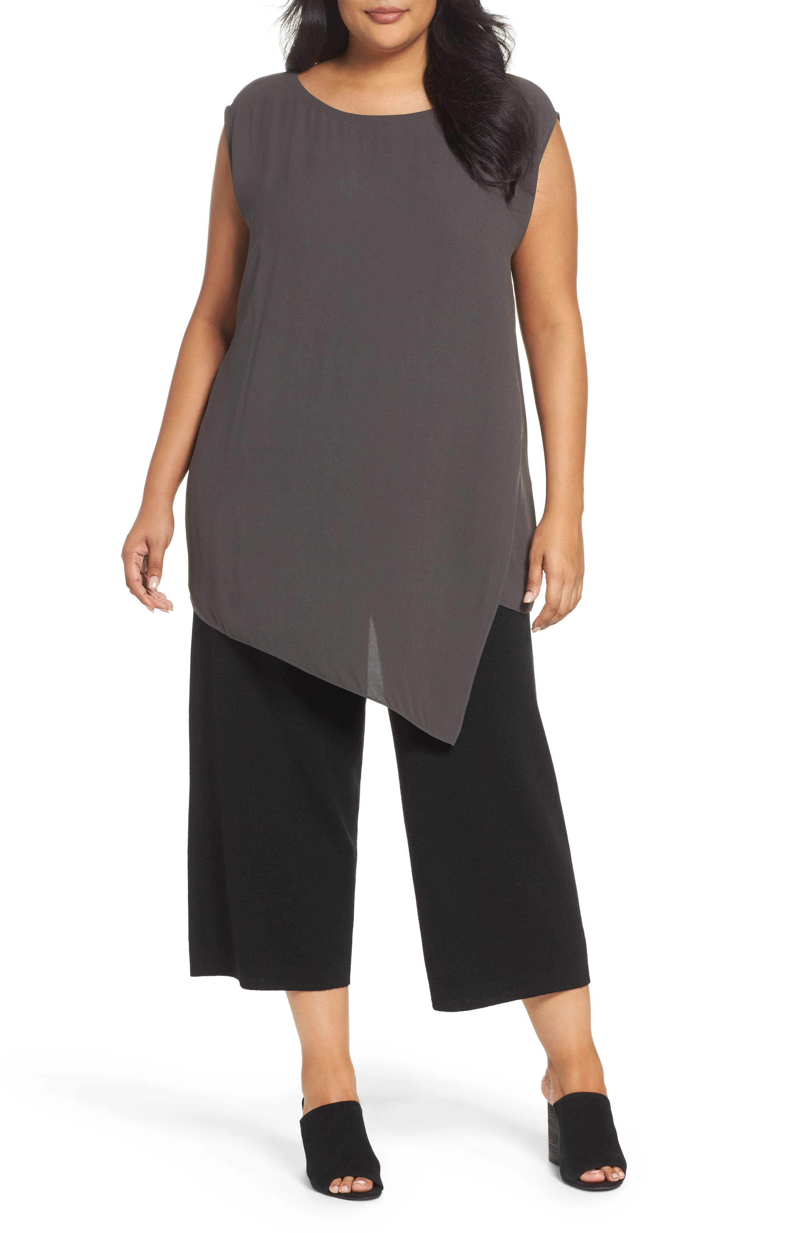 Eileen Fisher Asymmetrical Silk Tunic (Plus Size)