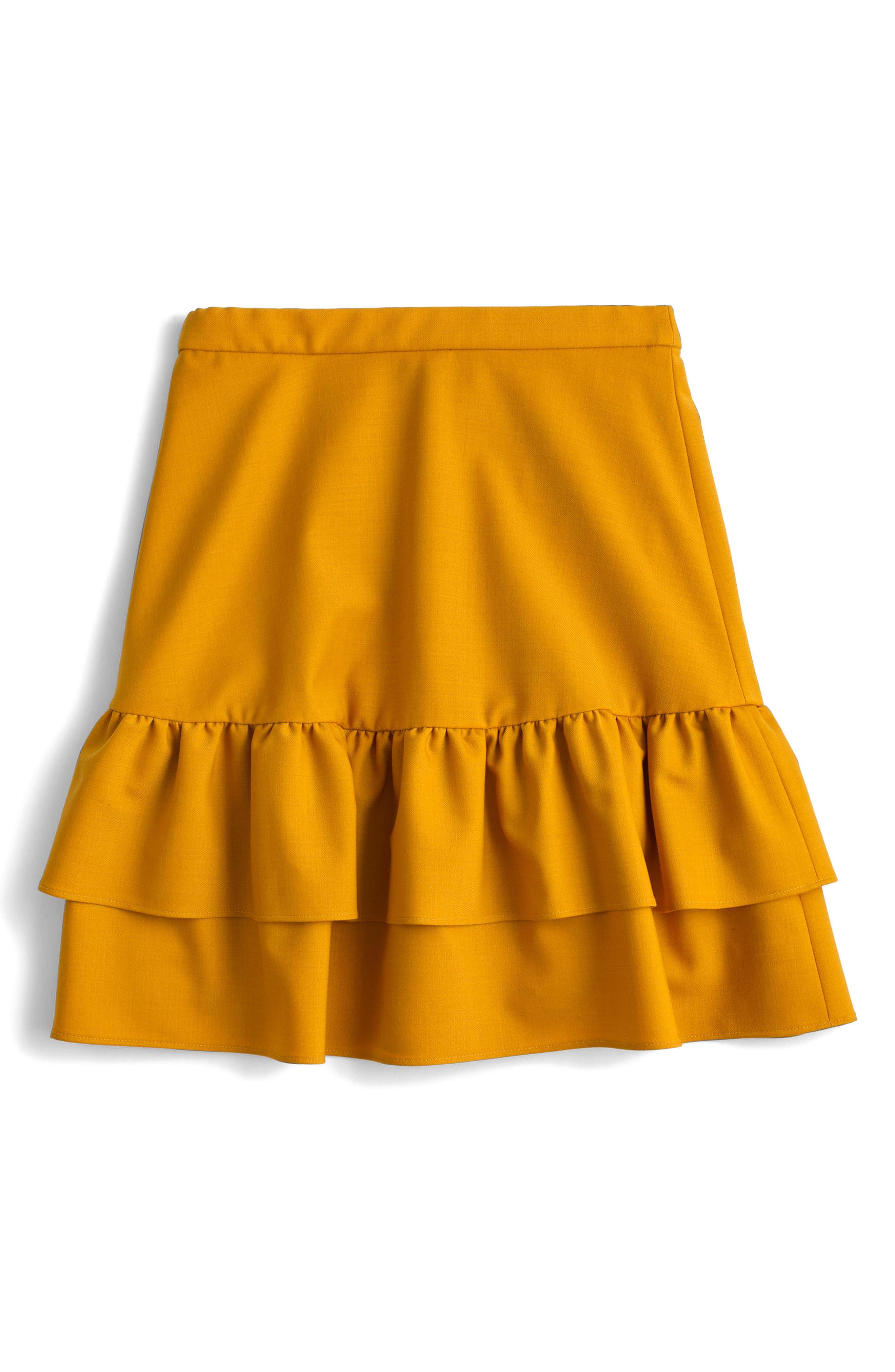 J. CREW J.Crew Wool Flannel Ruffle Skirt