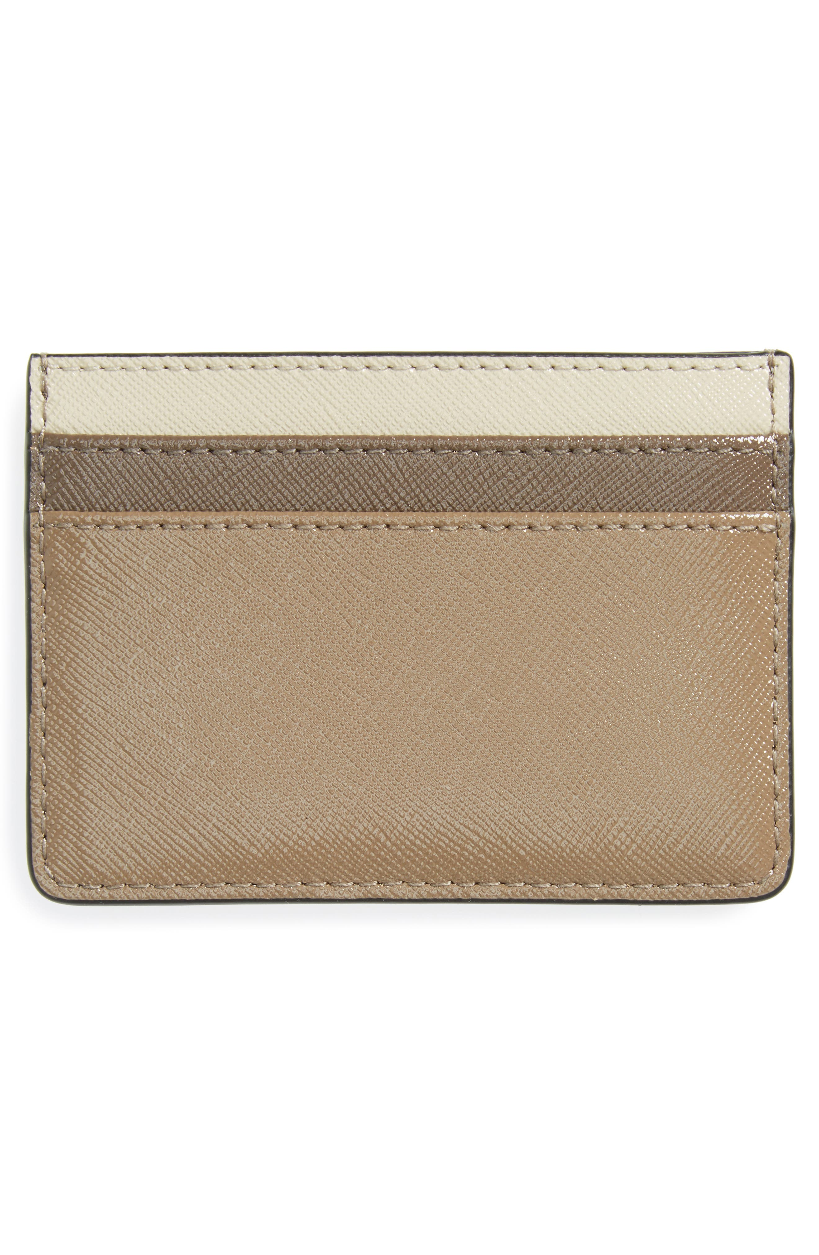 Color Block Saffiano Leather Card Case,                             Alternate thumbnail 2, color,                             French Grey Multi