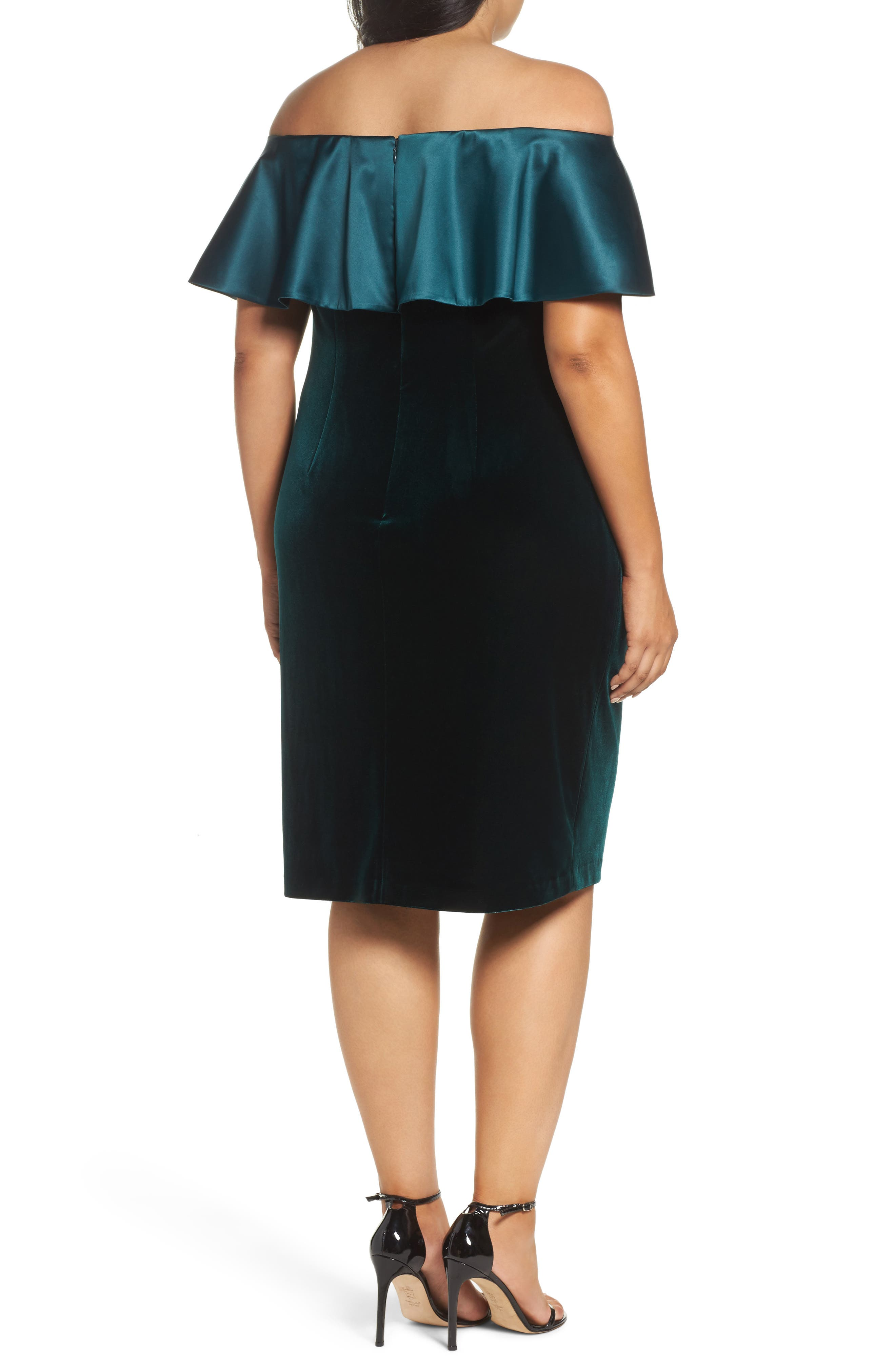 Adriana Papell Stretch Velvet Sheath Dress,                             Alternate thumbnail 3, color,                             Emerald