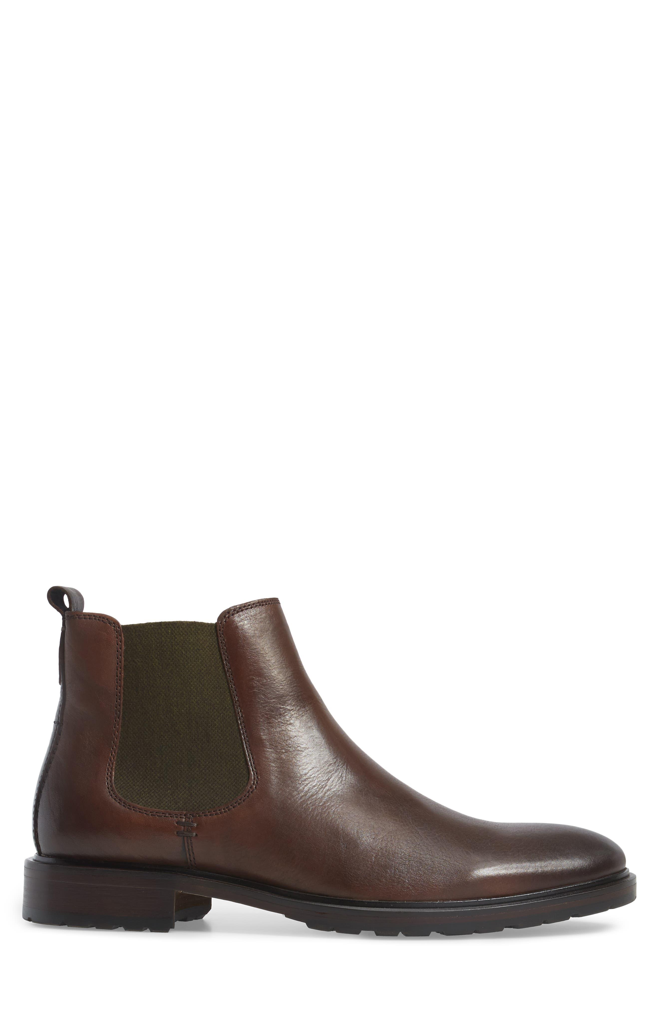 Myles Chelsea Boot,                             Alternate thumbnail 3, color,                             Mahogany Leather