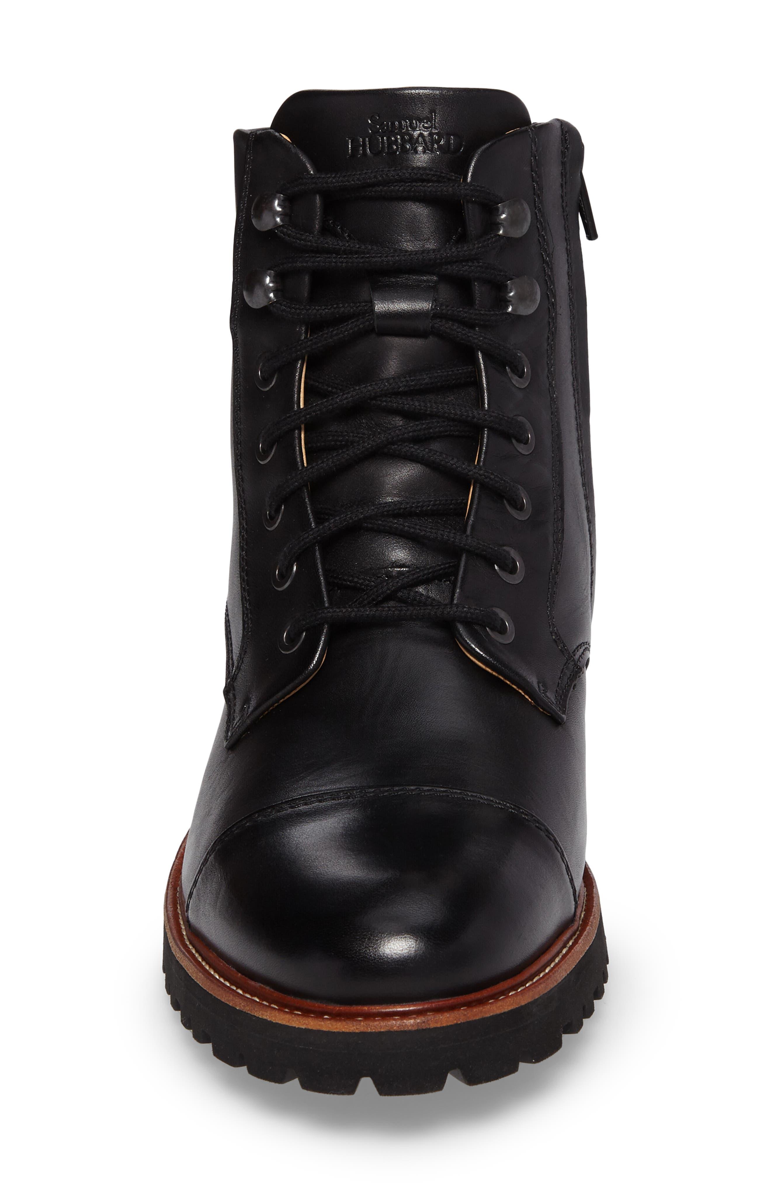 Uptown Maverick Cap Toe Boot,                             Alternate thumbnail 4, color,                             Black Leather