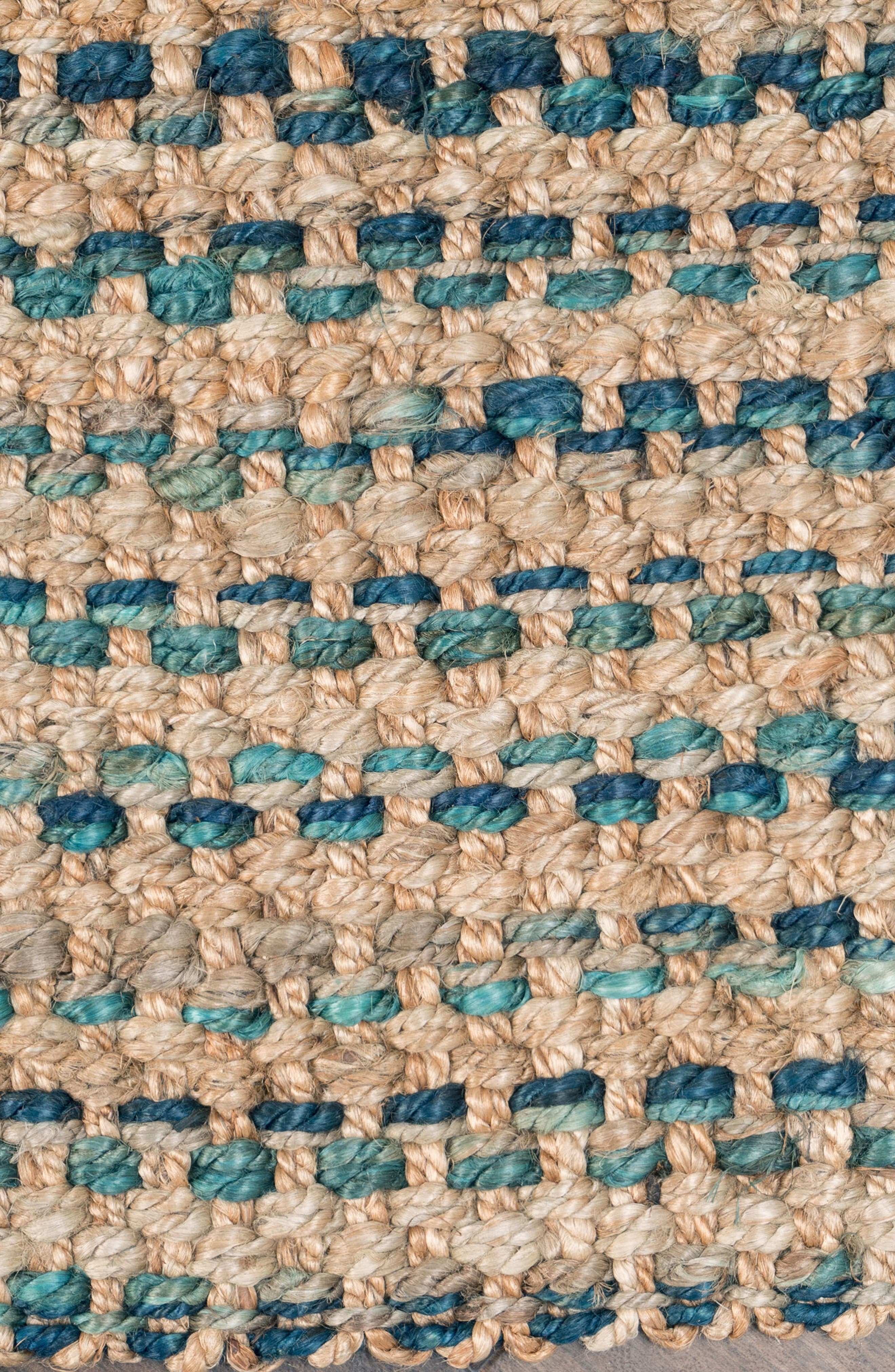 Ladera Handwoven Rug,                             Alternate thumbnail 3, color,                             Navy/ Turquoise