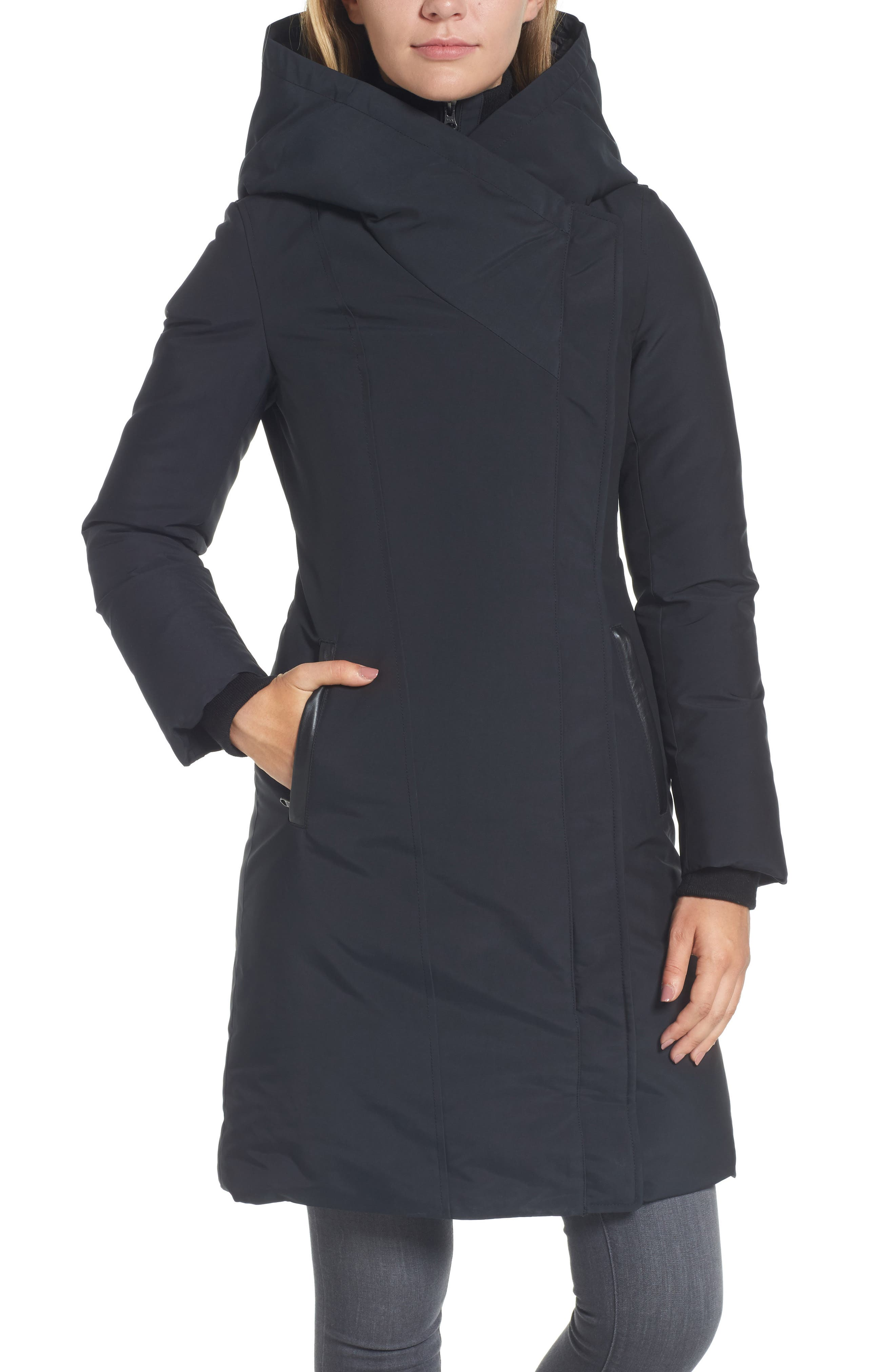 Hooded Asymmetrical Down Coat with Inset Bib,                             Alternate thumbnail 3, color,                             Black