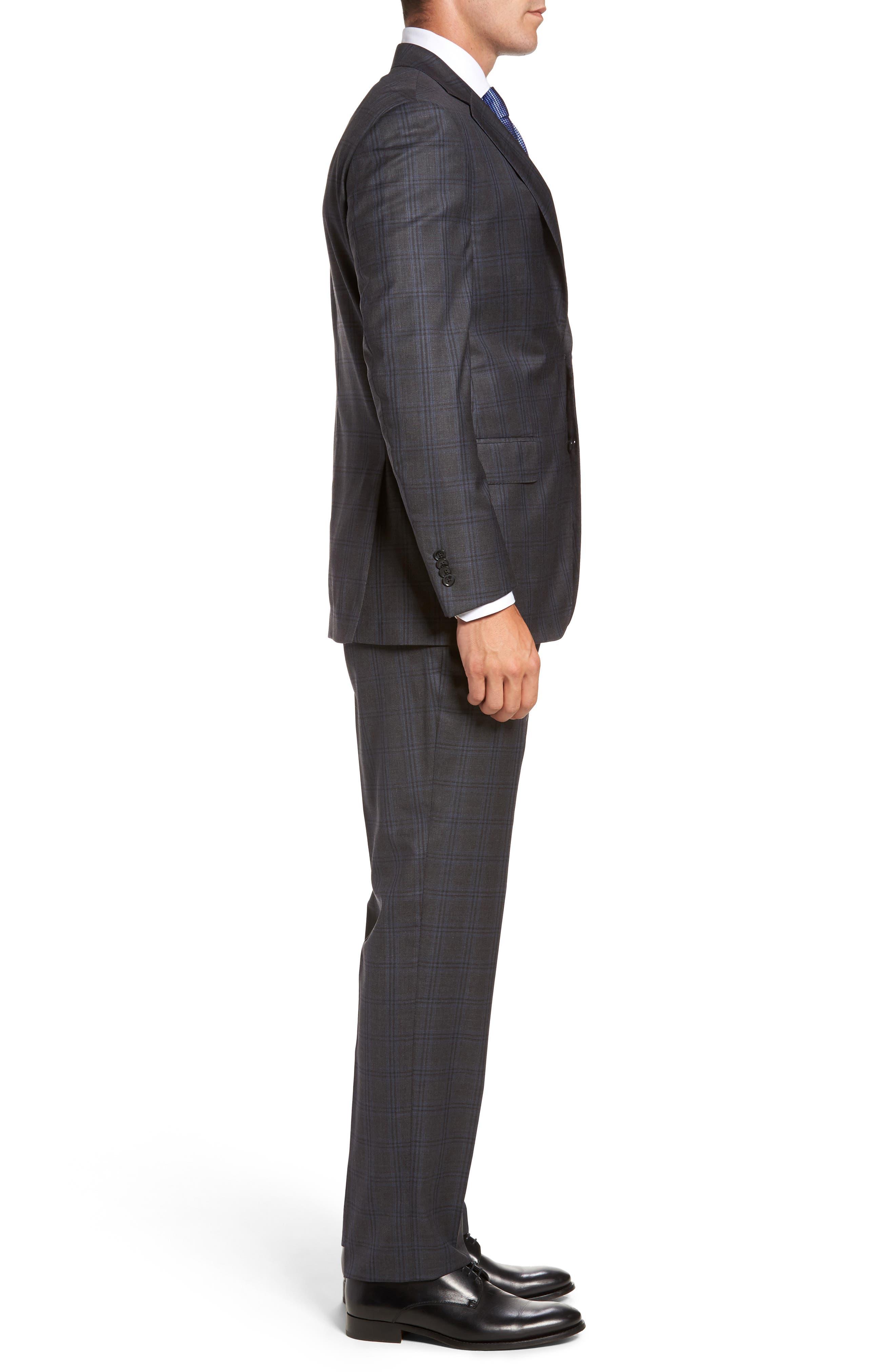 Flynn Classic Fit Plaid Wool Suit,                             Alternate thumbnail 3, color,                             Grey