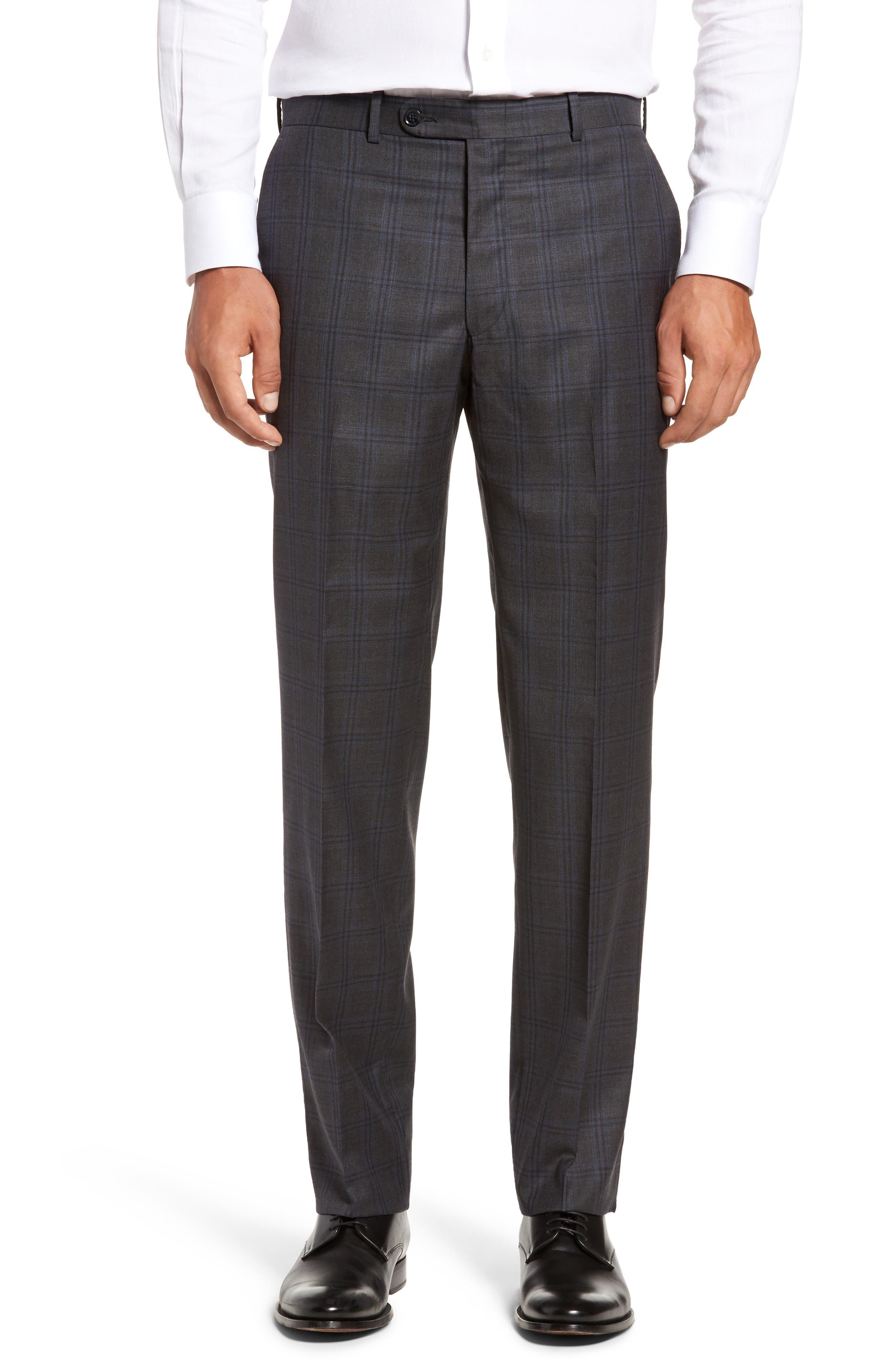 Flynn Classic Fit Plaid Wool Suit,                             Alternate thumbnail 6, color,                             Grey