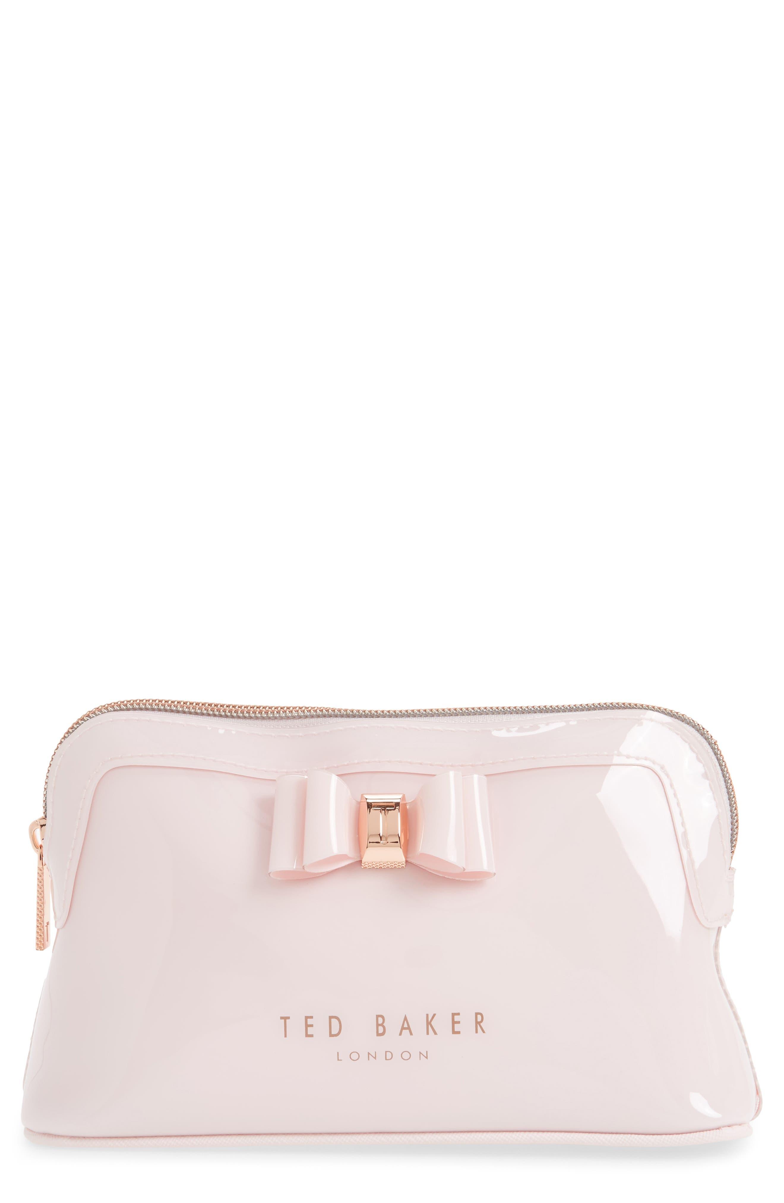 Julis Bow PVC Cosmetics Case,                         Main,                         color, Dusky Pink