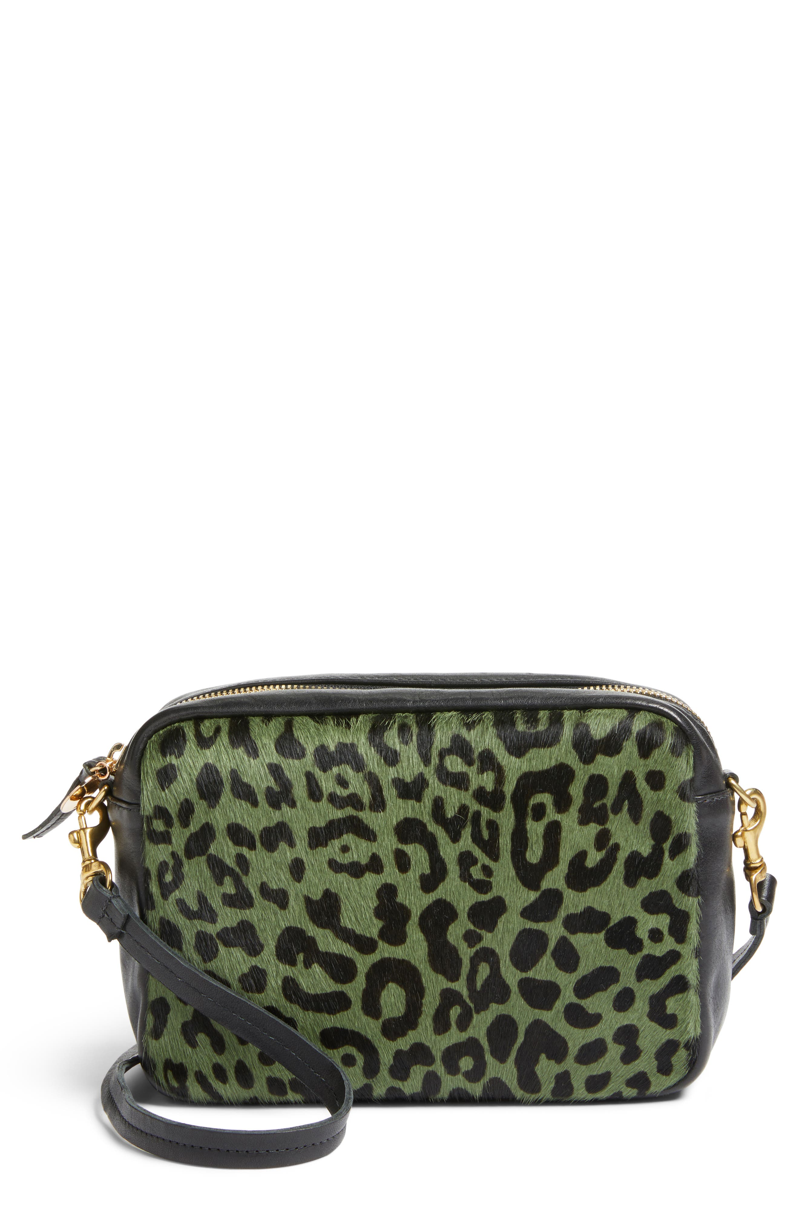 Midi Sac Leather & Genuine Calf Hair Shoulder Bag,                             Main thumbnail 1, color,                             Agave Leopard