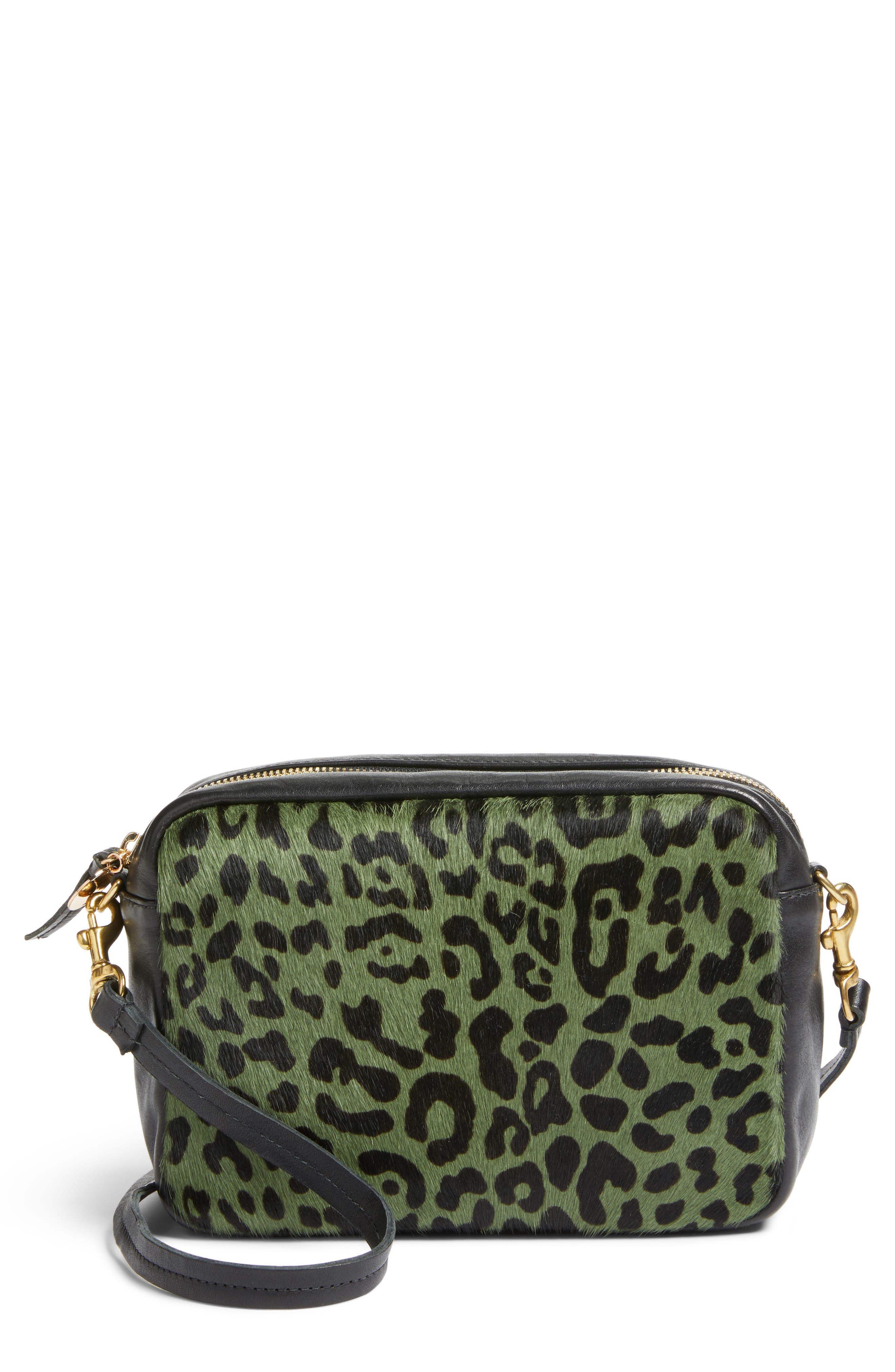 Midi Sac Leather & Genuine Calf Hair Shoulder Bag,                         Main,                         color, Agave Leopard