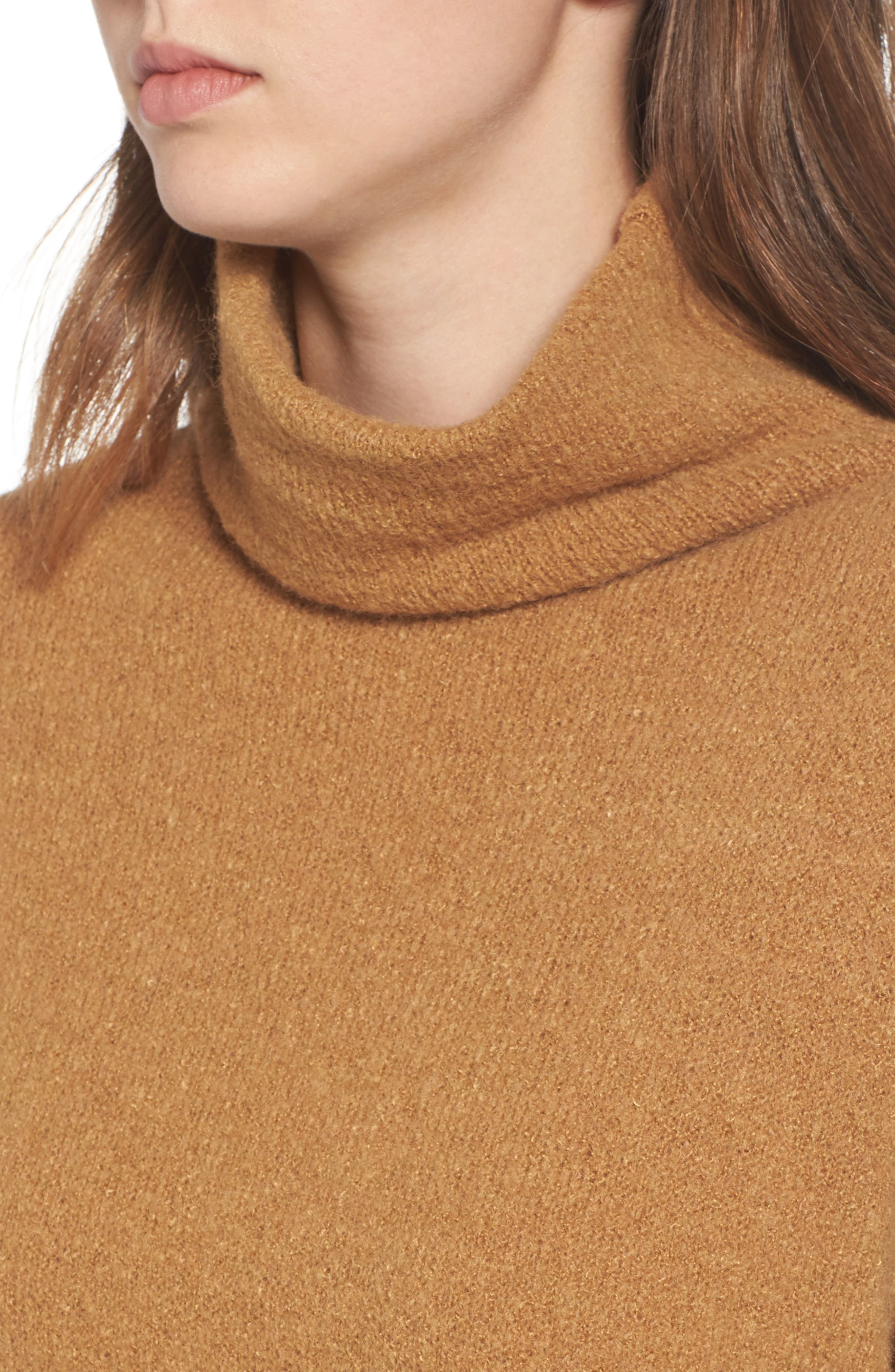 Bouclé Turtleneck Tunic Sweater,                             Alternate thumbnail 4, color,                             Brown Cattail
