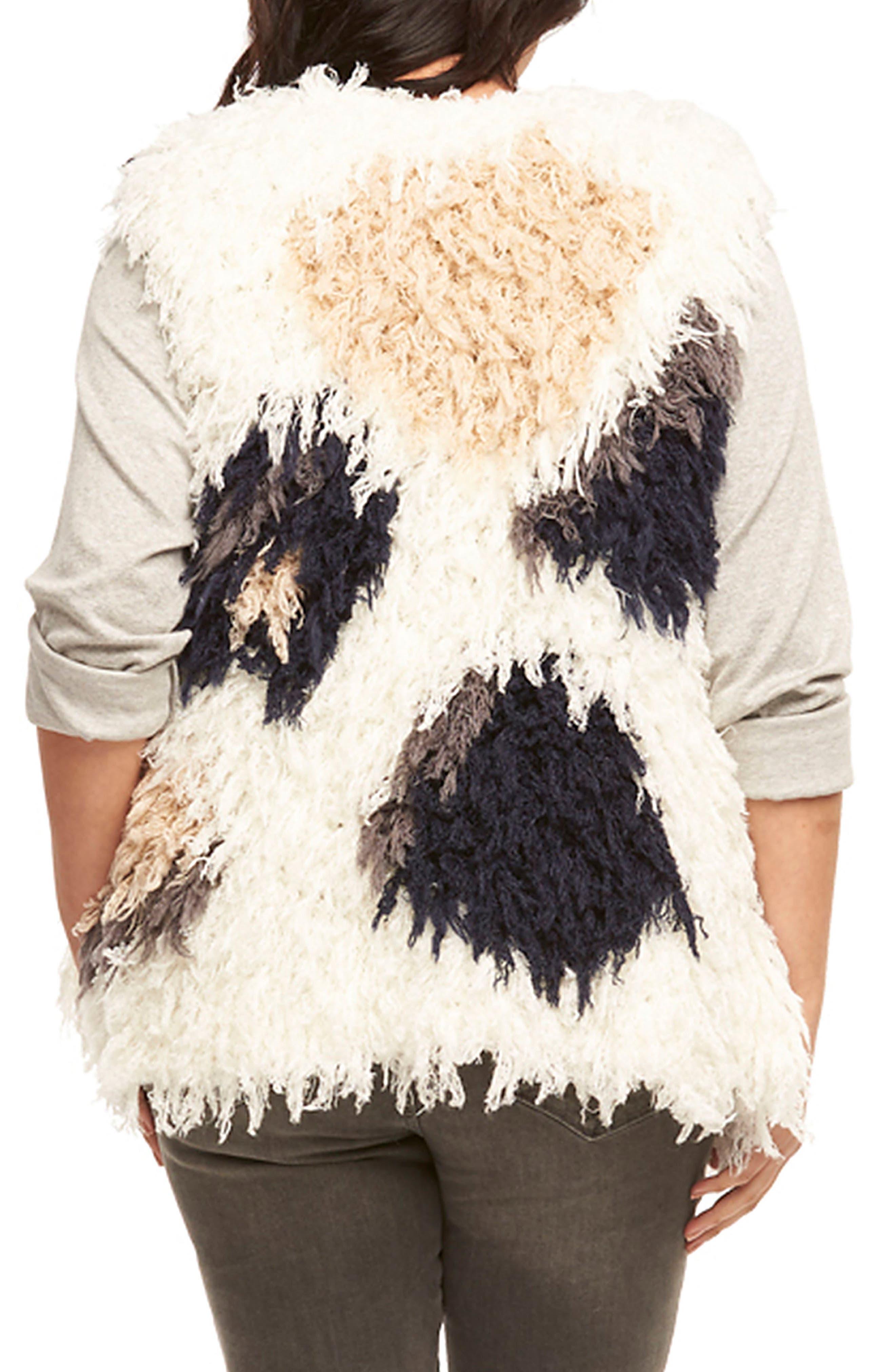 Mave Spot Shaggy Faux Fur Vest,                             Alternate thumbnail 2, color,                             Cream/ Navy