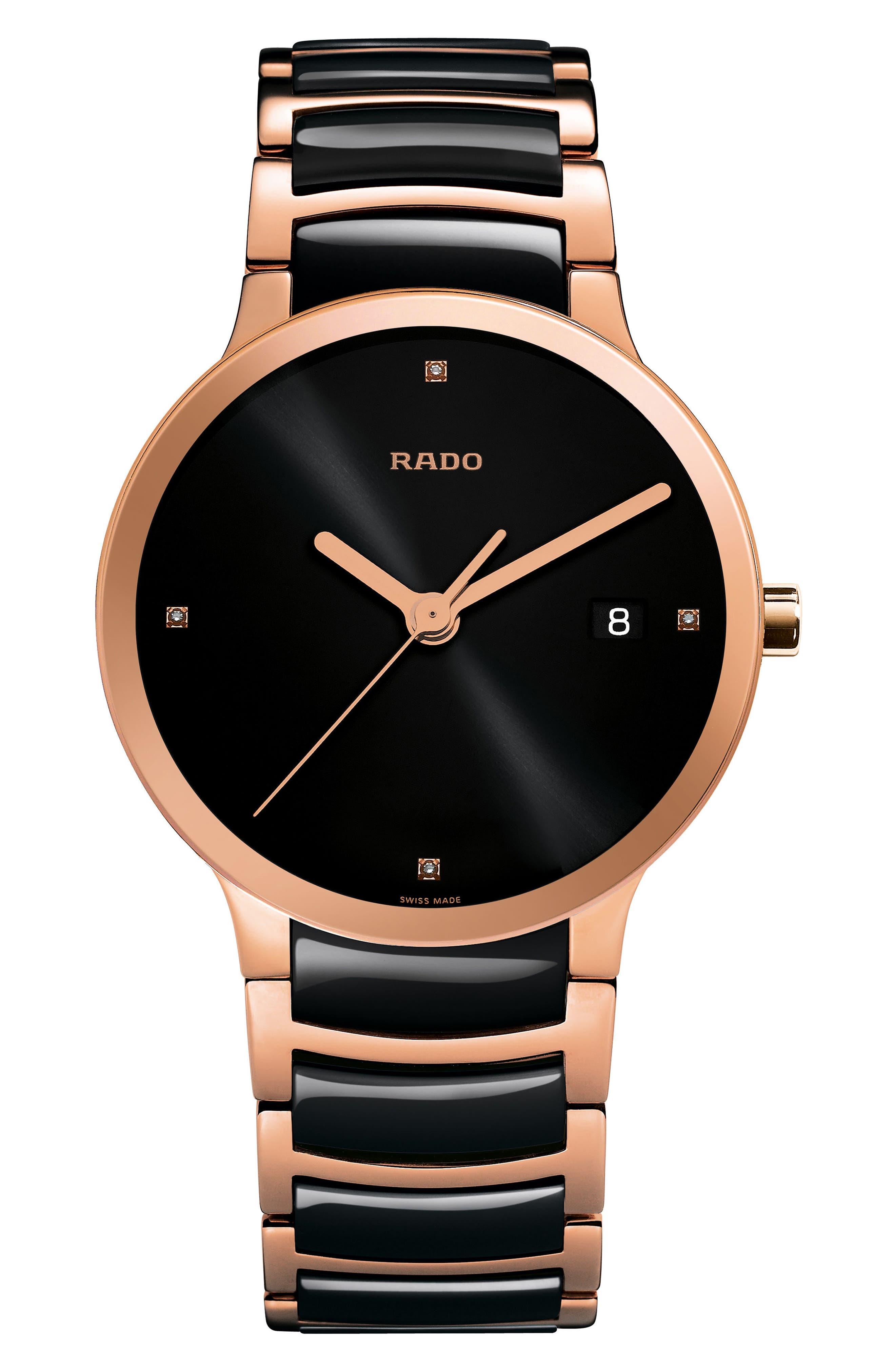 Centrix Diamond Ceramic Bracelet Watch, 38mm,                             Main thumbnail 1, color,                             Rose Gold/ Black