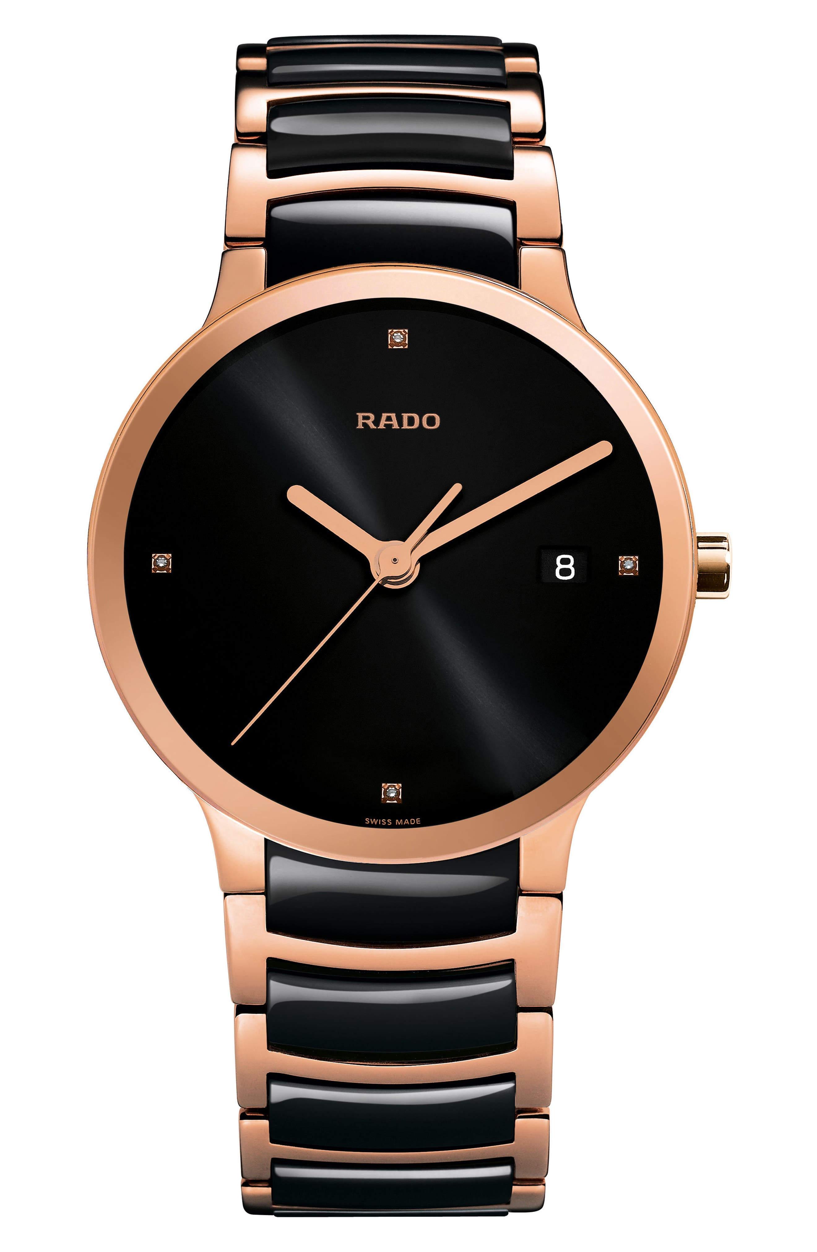 RADO Centrix Diamond Ceramic Bracelet Watch, 38mm