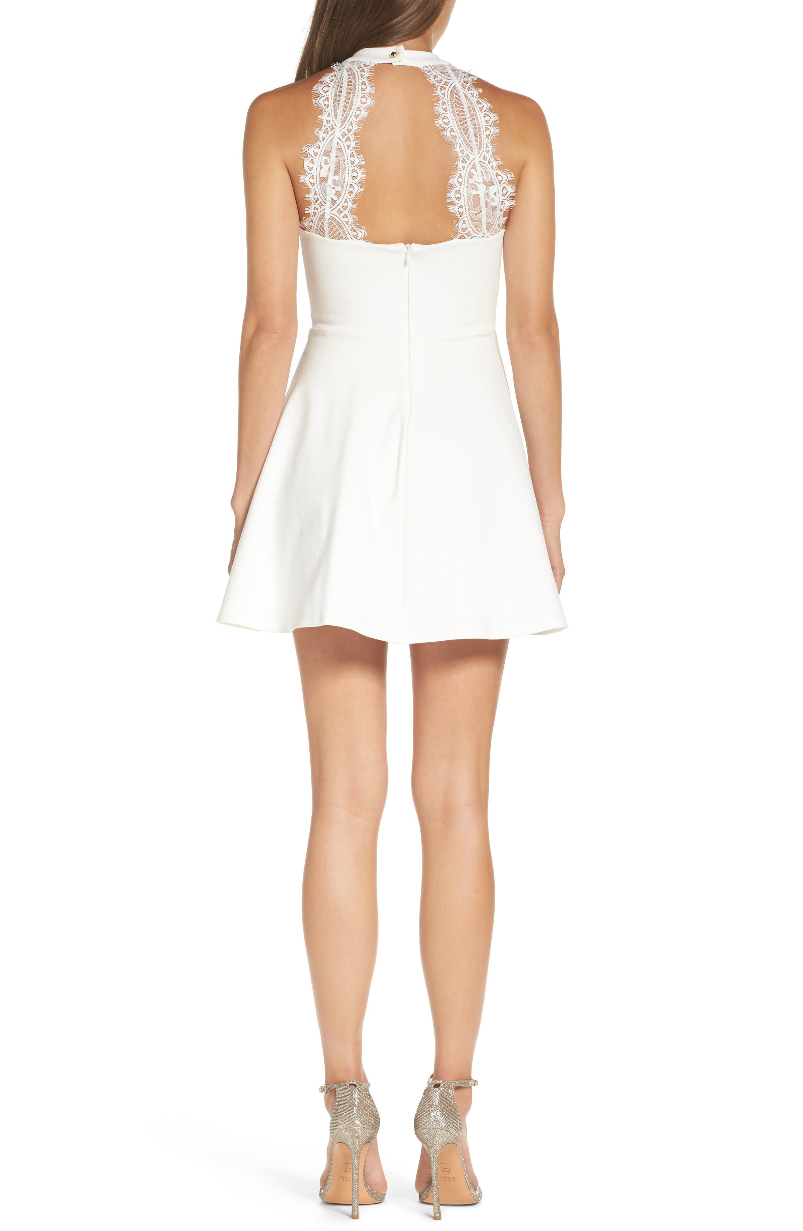 Endlessly Alluring Lace Trim Fit & Flare Dress,                             Alternate thumbnail 2, color,                             White