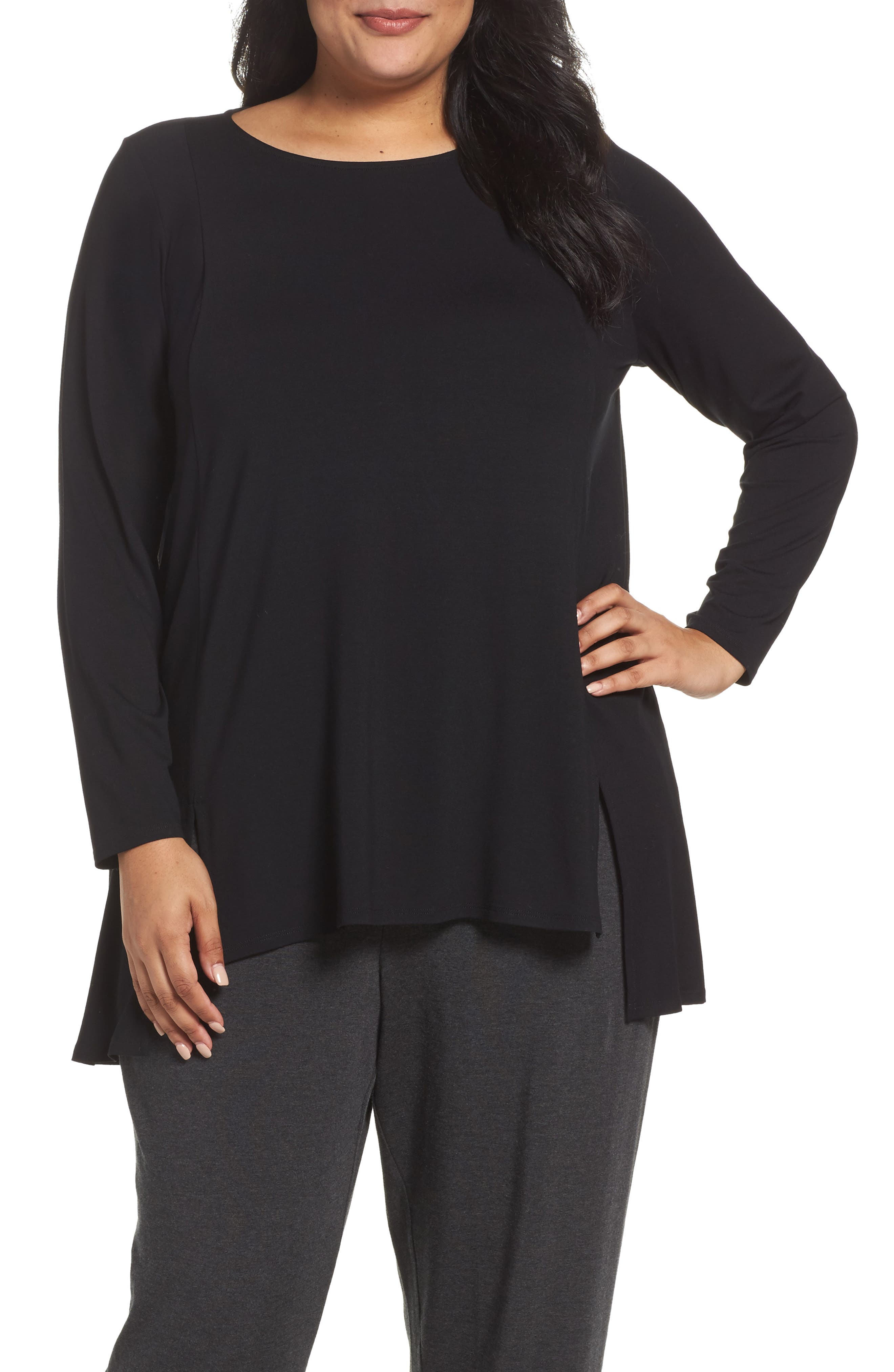 Main Image - Eileen Fisher Round Neck Tunic (Plus Size)