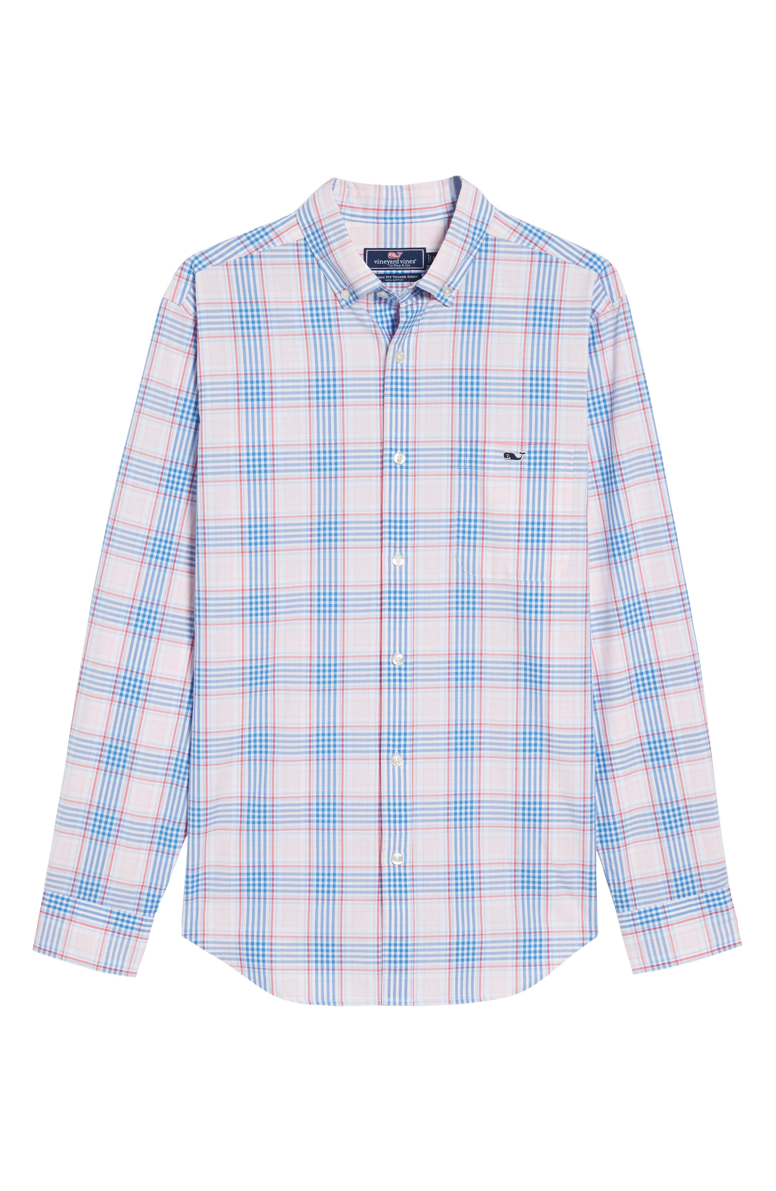 Pelican Plaid Tucker Classic Fit Sport Shirt,                             Alternate thumbnail 6, color,                             Rose Pink