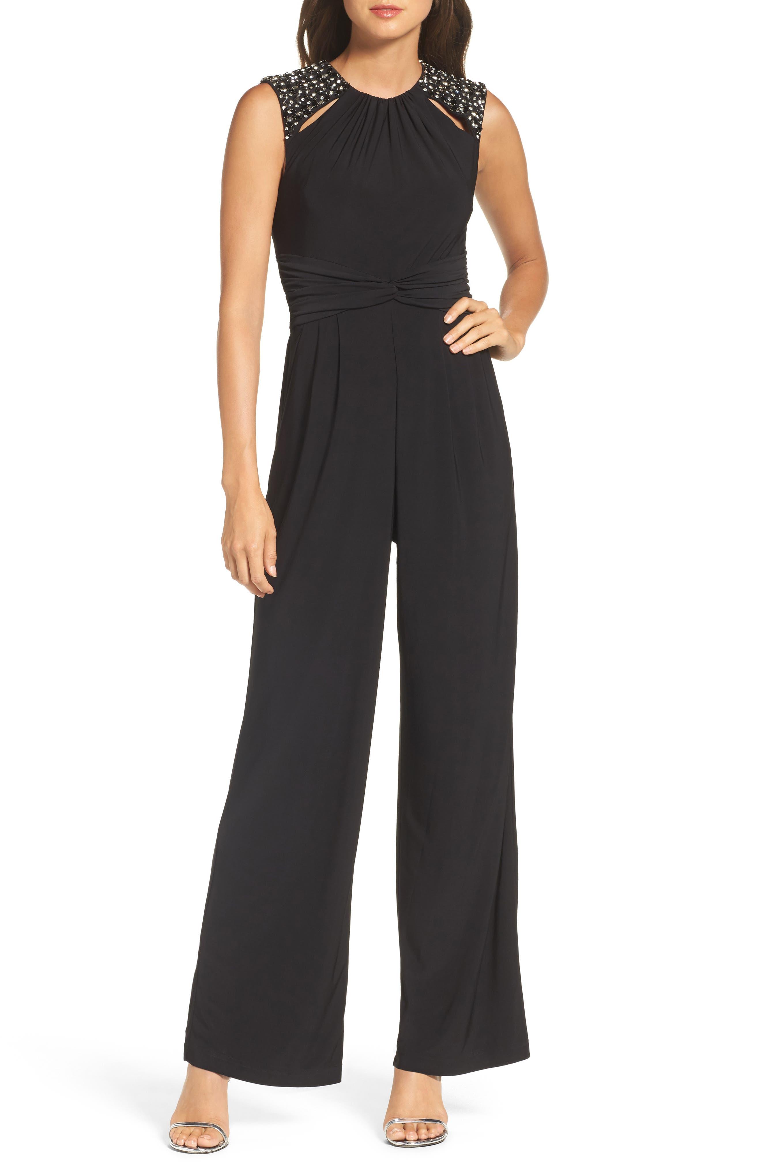 Embellished Shoulder Jumpsuit,                         Main,                         color, Black