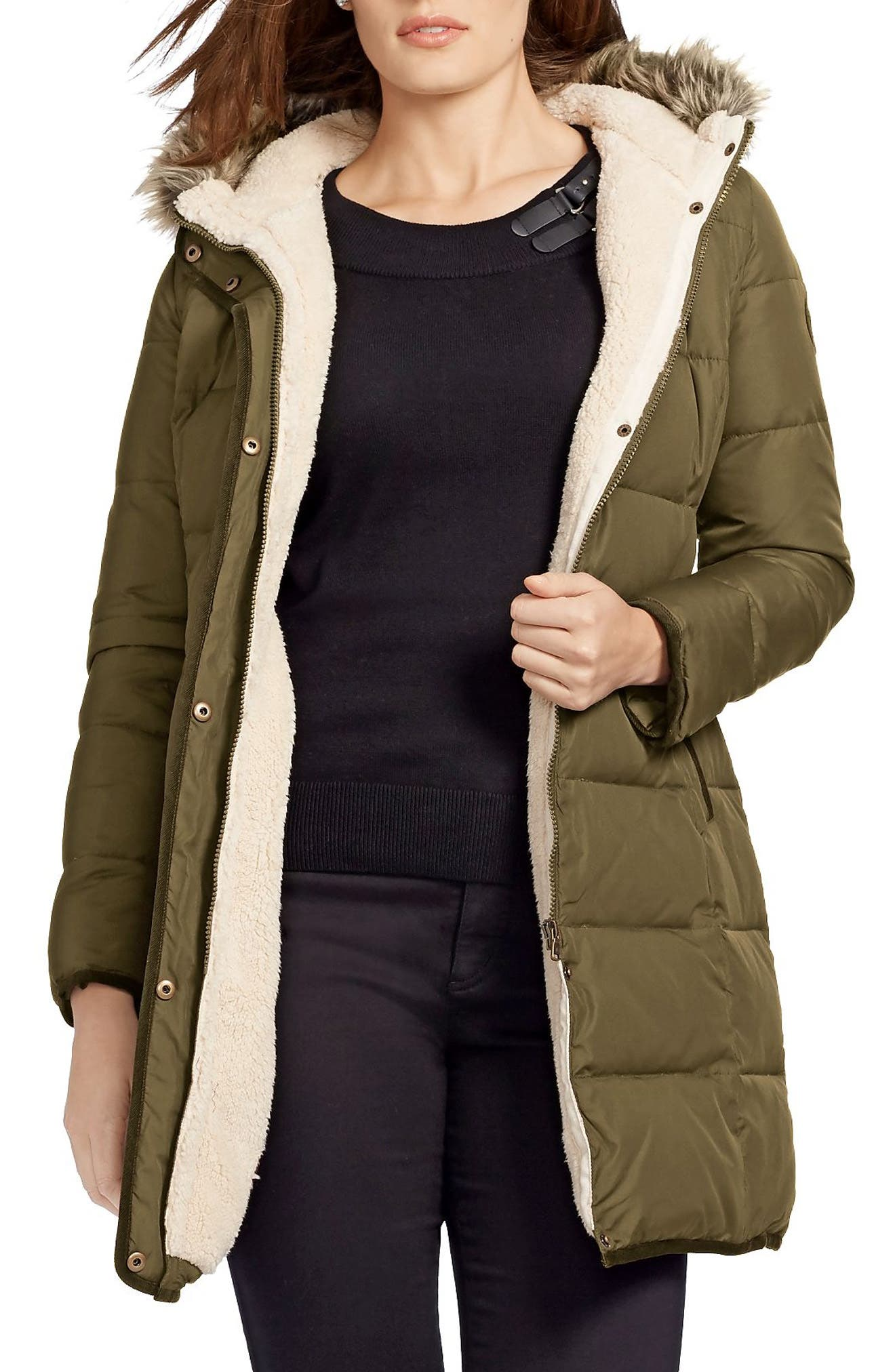 Lauren Ralph Lauren Quilted Parka with Faux Fur Trim (Plus Size)