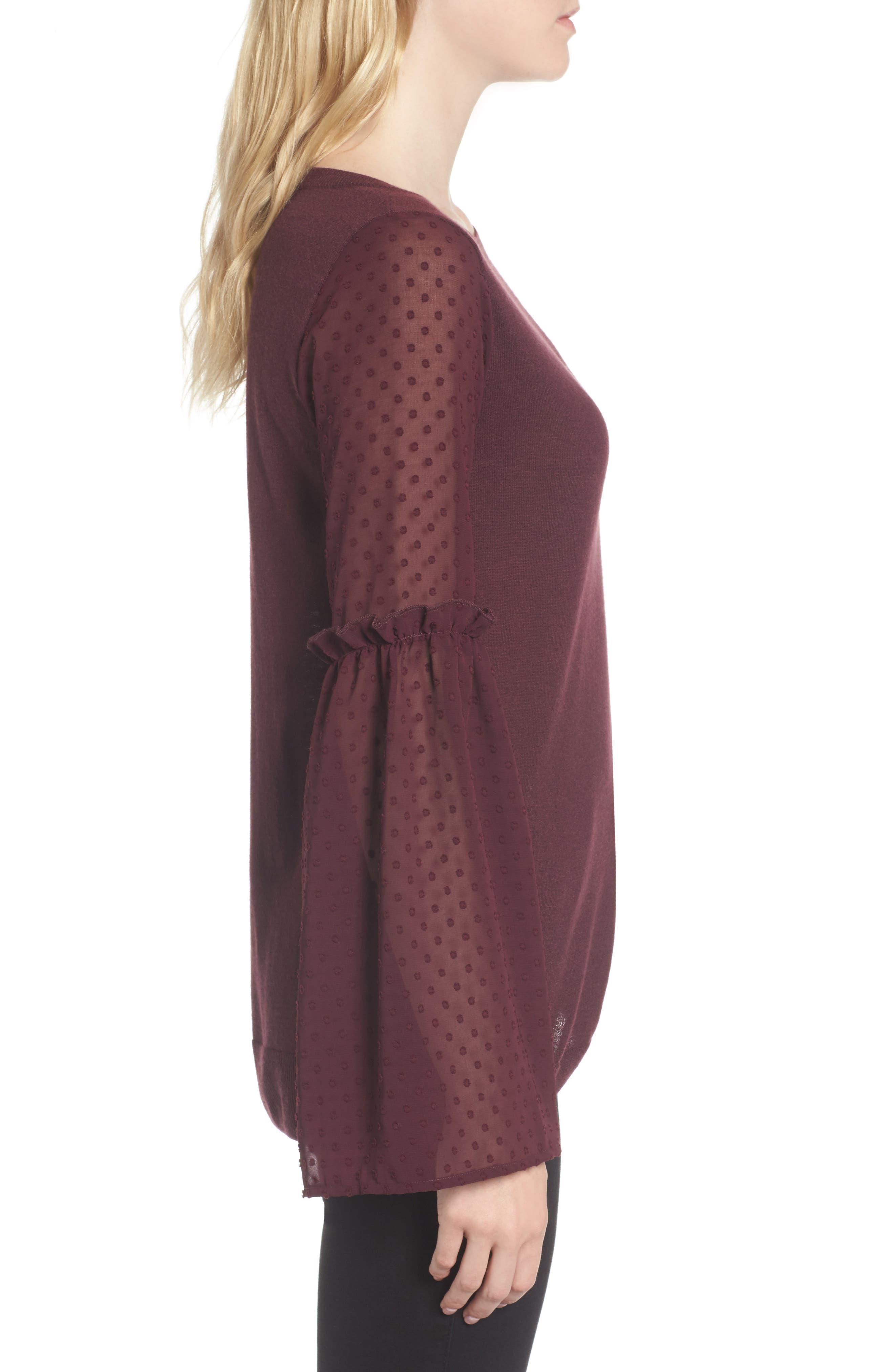Bell Sleeve Sweater,                             Alternate thumbnail 3, color,                             Burgundy Stem