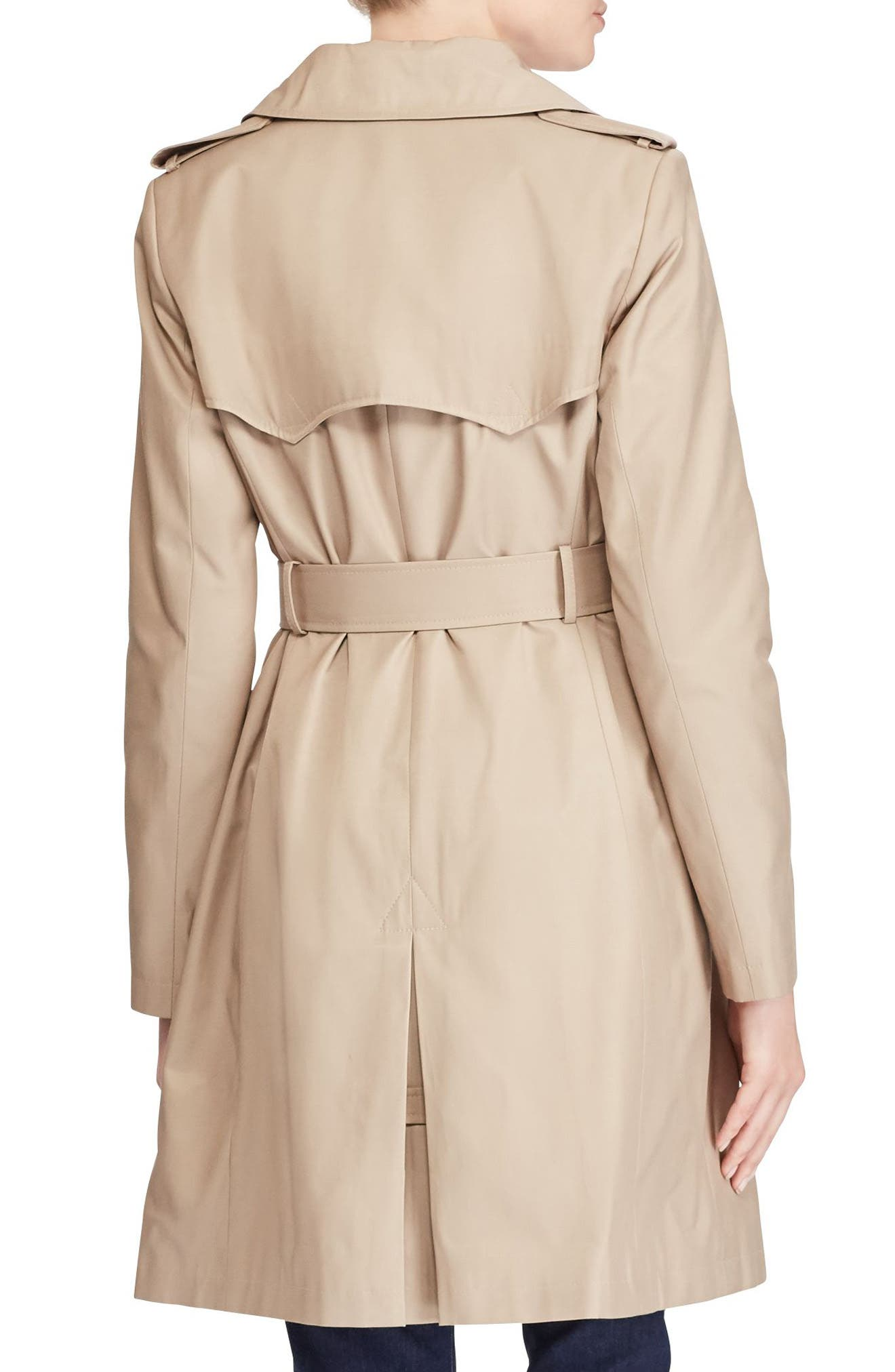 Double Breasted Trench Coat,                             Alternate thumbnail 3, color,                             Sand