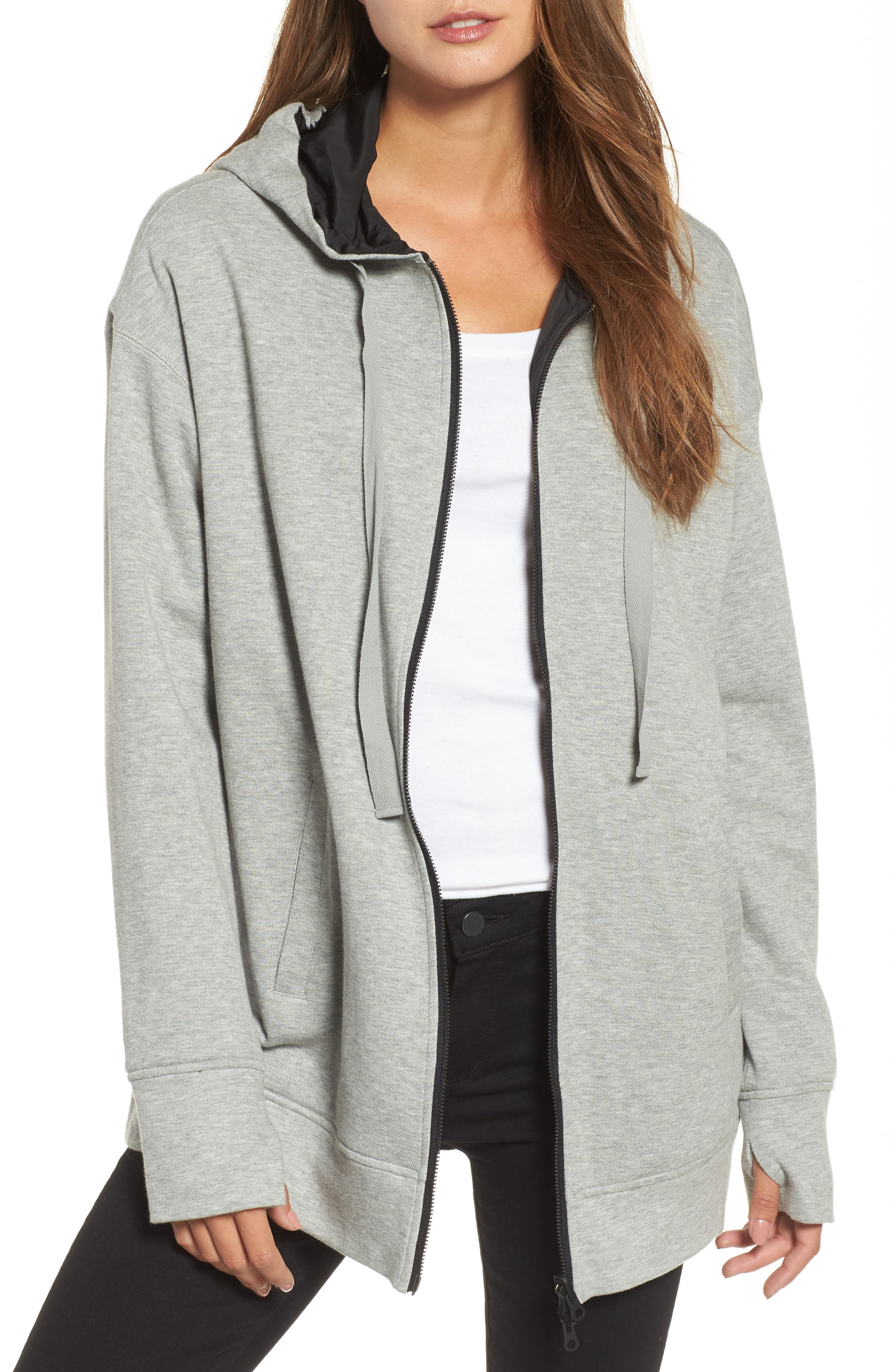 Reversible Graphic Hoodie,                             Main thumbnail 1, color,                             Heather Grey