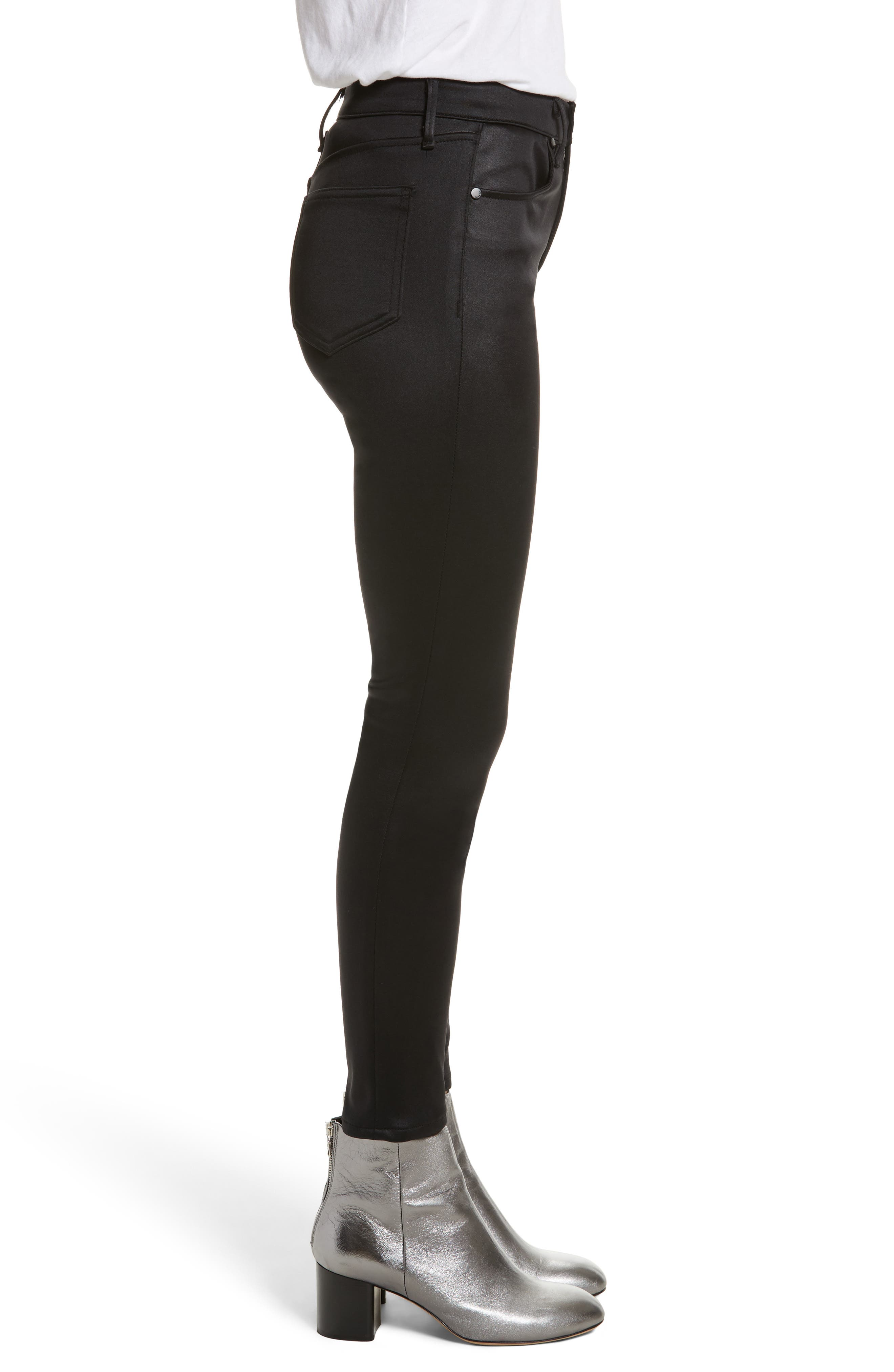 High Waist Ankle Skinny Jeans,                             Alternate thumbnail 3, color,                             Black Sateen