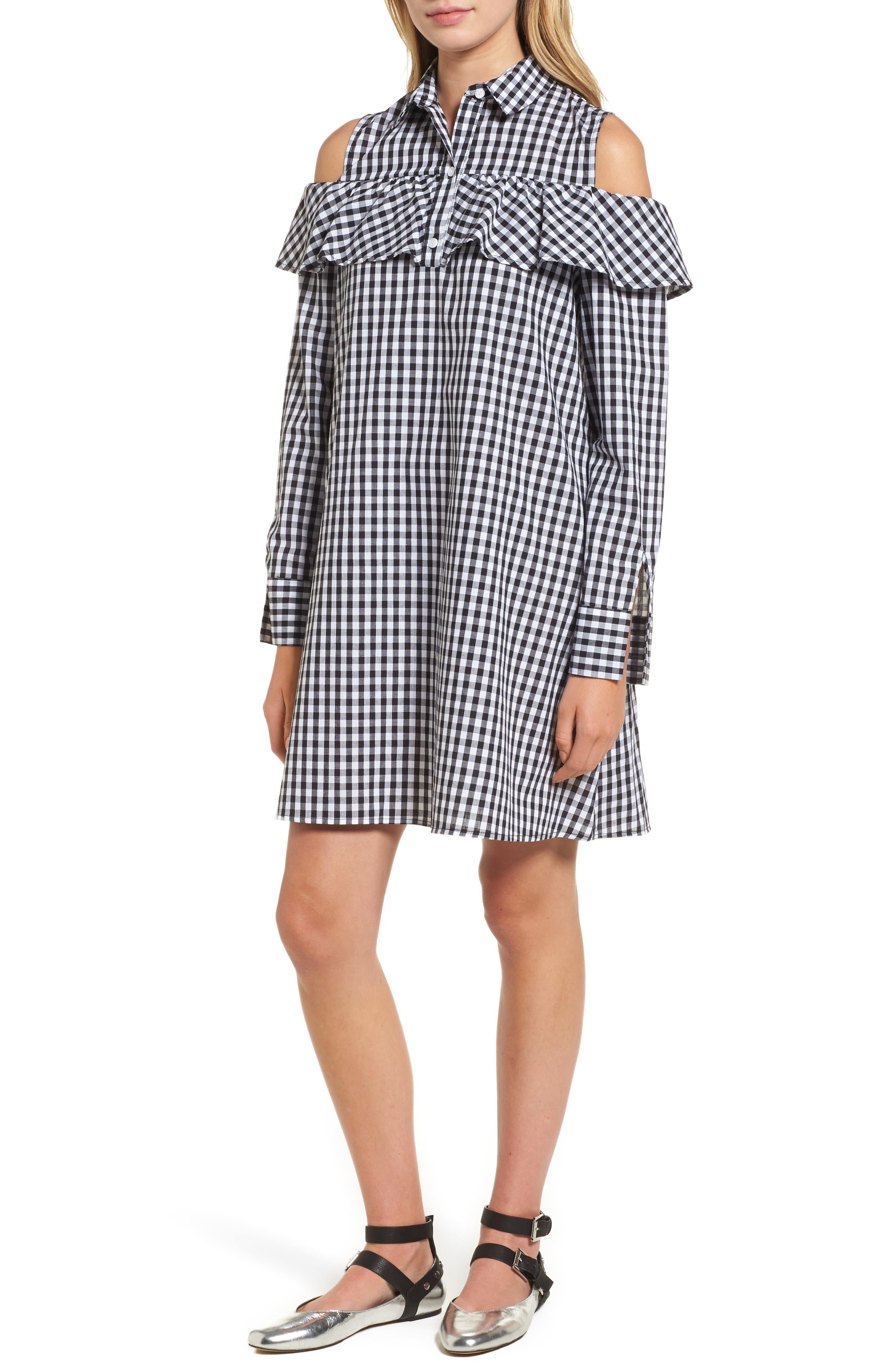 BP. Ruffle Cold Shoulder Dress