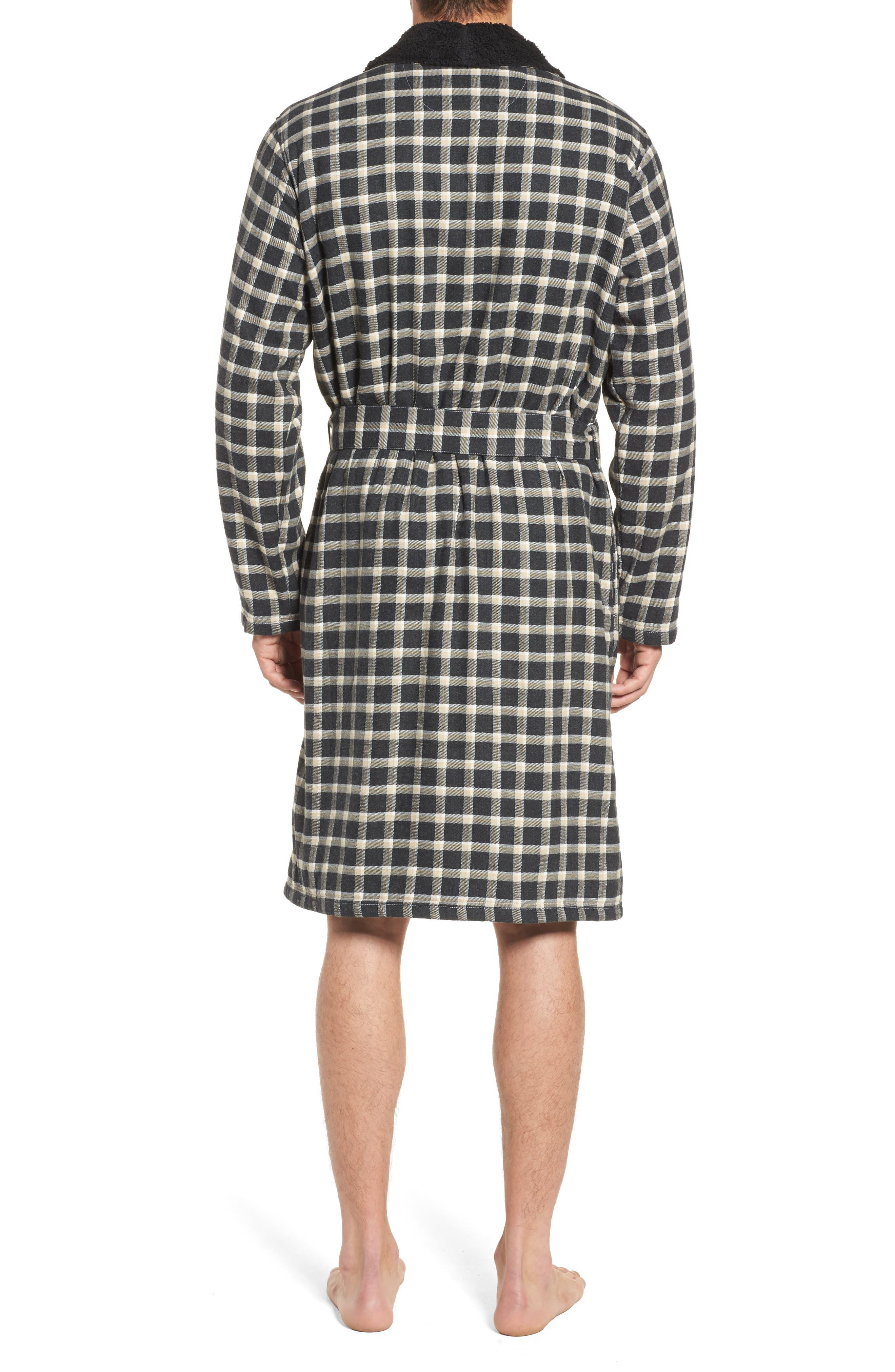 Kalib Plaid Flannel Robe,                             Alternate thumbnail 2, color,                             Black