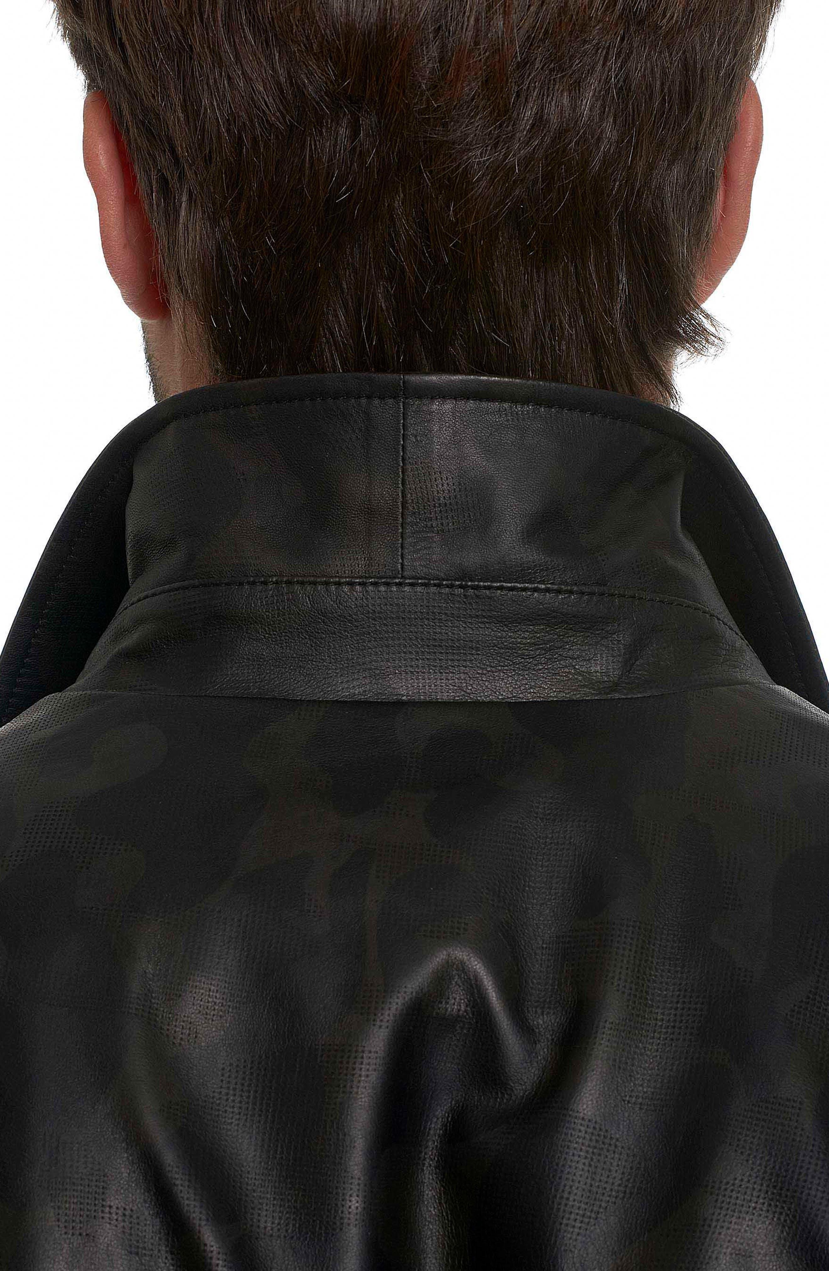 Colden Camo Leather Shirt Jacket,                             Alternate thumbnail 4, color,                             Black