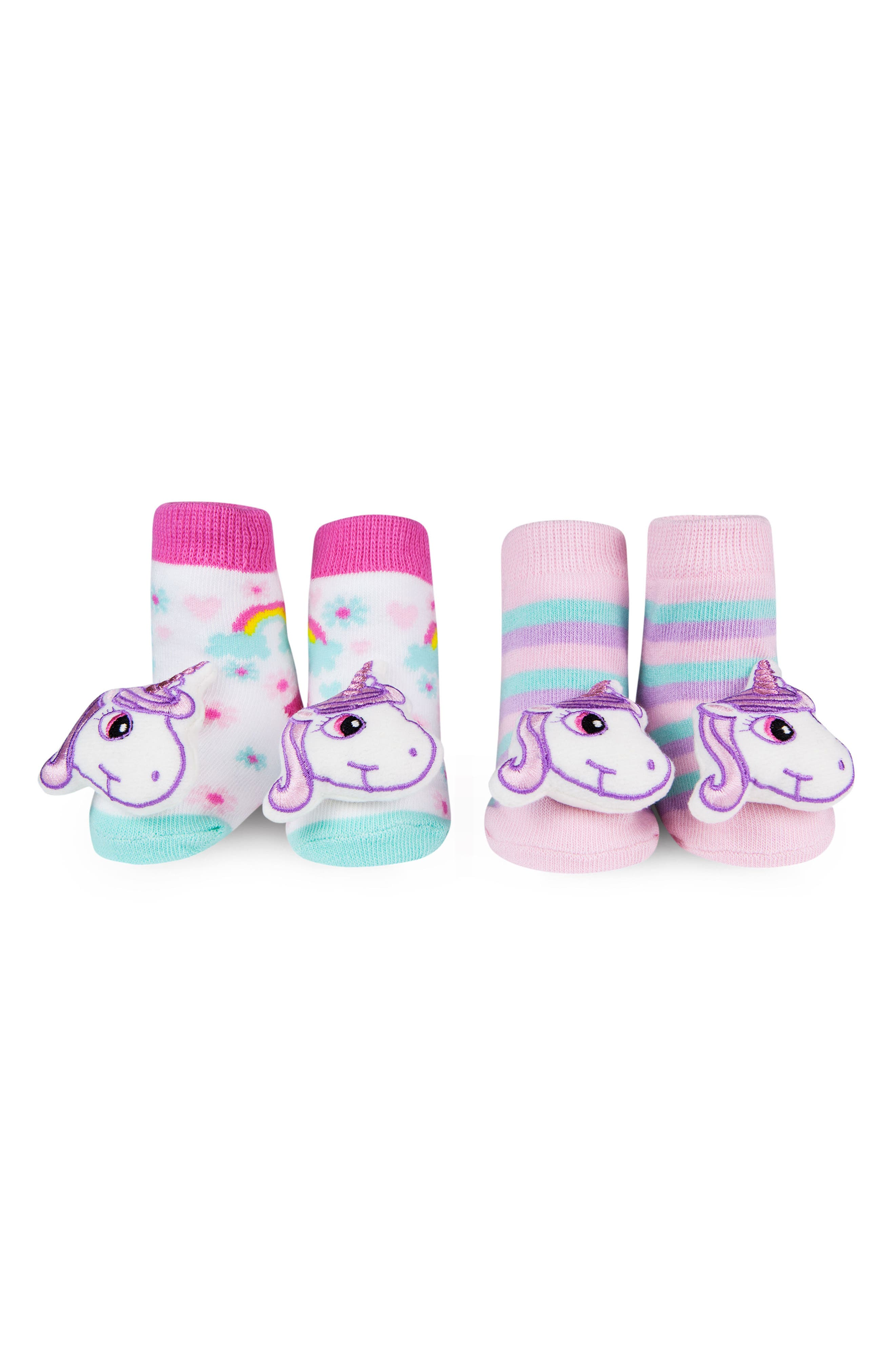& Friends 2-Pack Unicorn Rattle Socks,                             Main thumbnail 1, color,                             Pink/ White