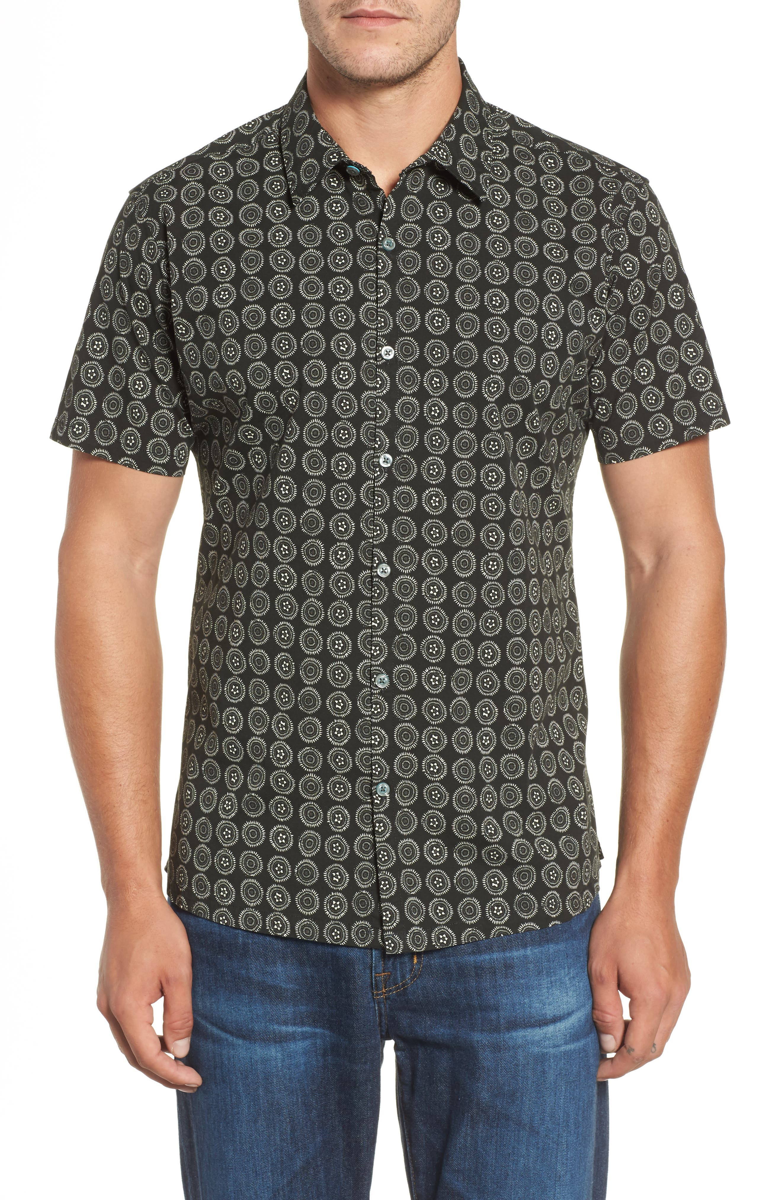 Sea Crest Slim Fit Print Camp Shirt,                         Main,                         color, Black
