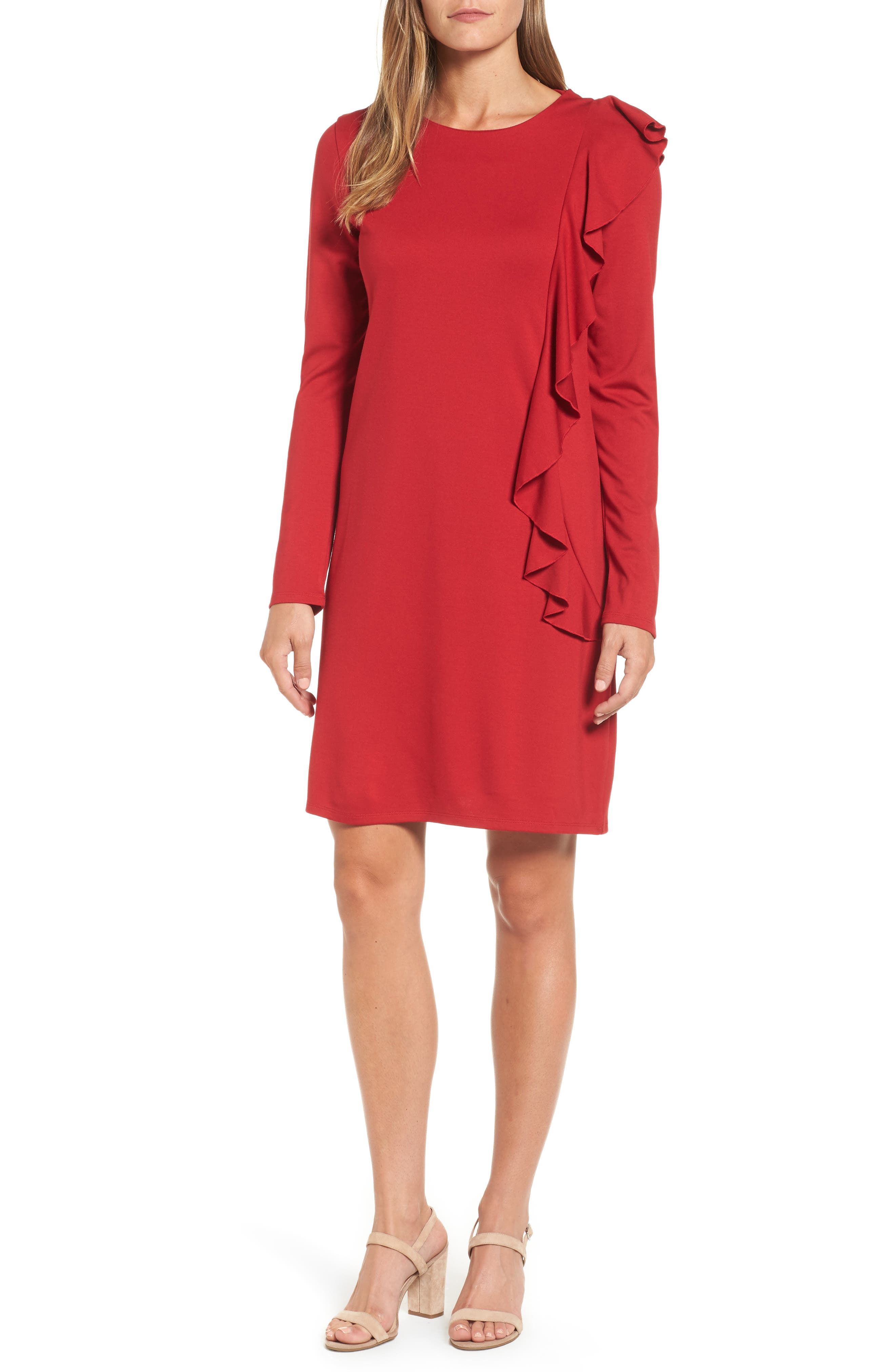 Halogen Ruffle Shift Dress,                         Main,                         color, Red Chili